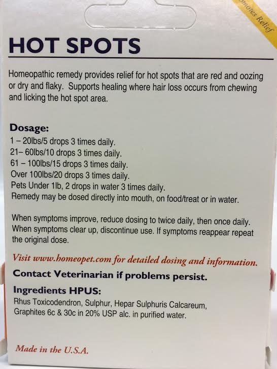 Homeopathic Dog Hot Spot Remedy
