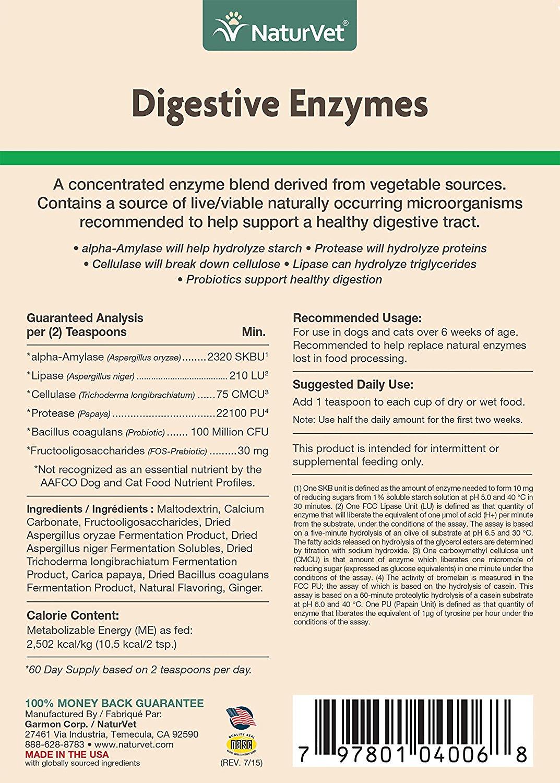 Naturvet Digestive Enzymes Powder Probiotics Supplement