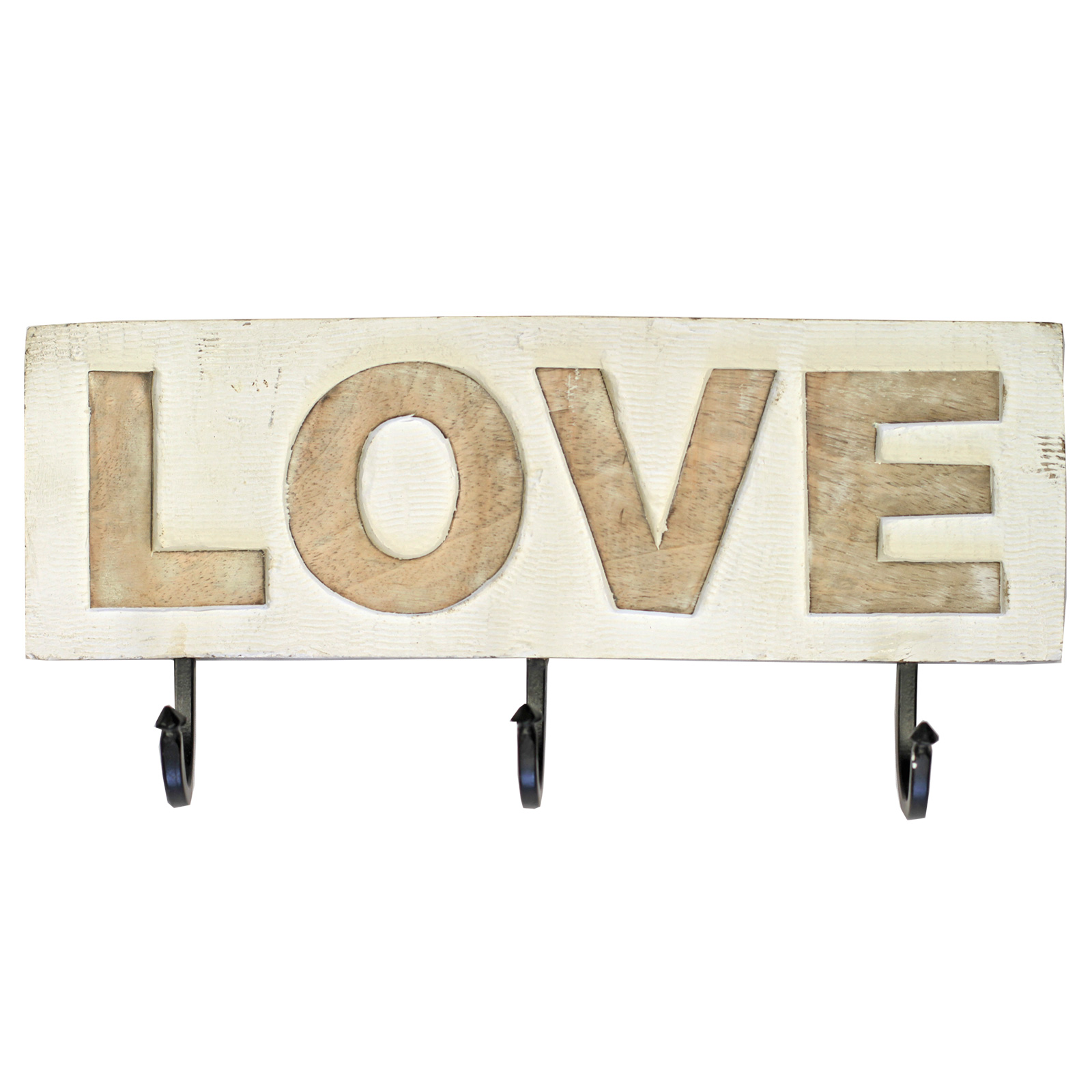 Shabby Chic Wooden Wall Mounted Coat Key Rack With 3