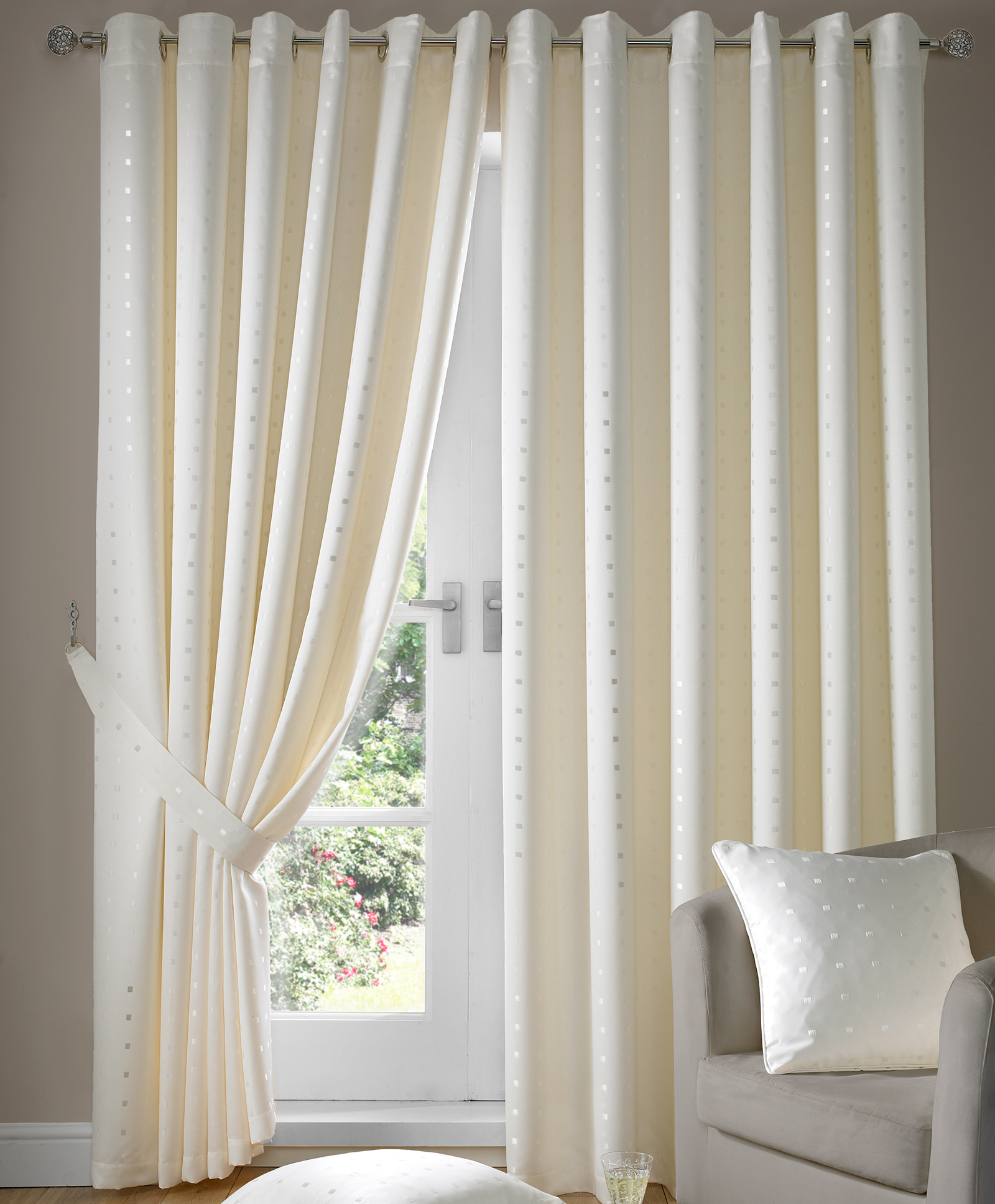 Ring Top Fully Lined Jacquard Curtains With Woven Square Pattern Ready Made Ebay