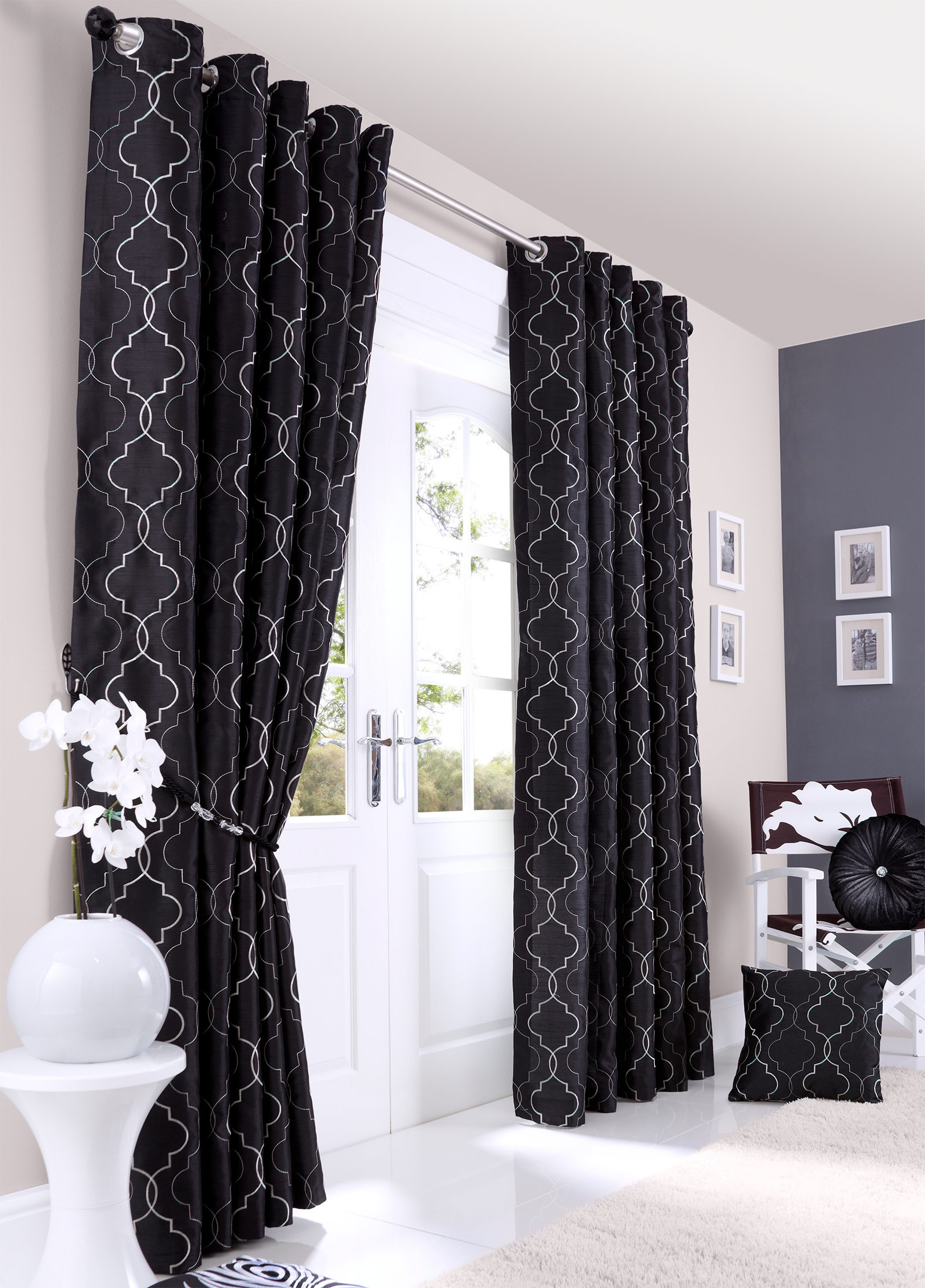 Faux Silk Luxury Curtains Embroidered Ready Made Lined Eyelet Curtain Pair Ebay