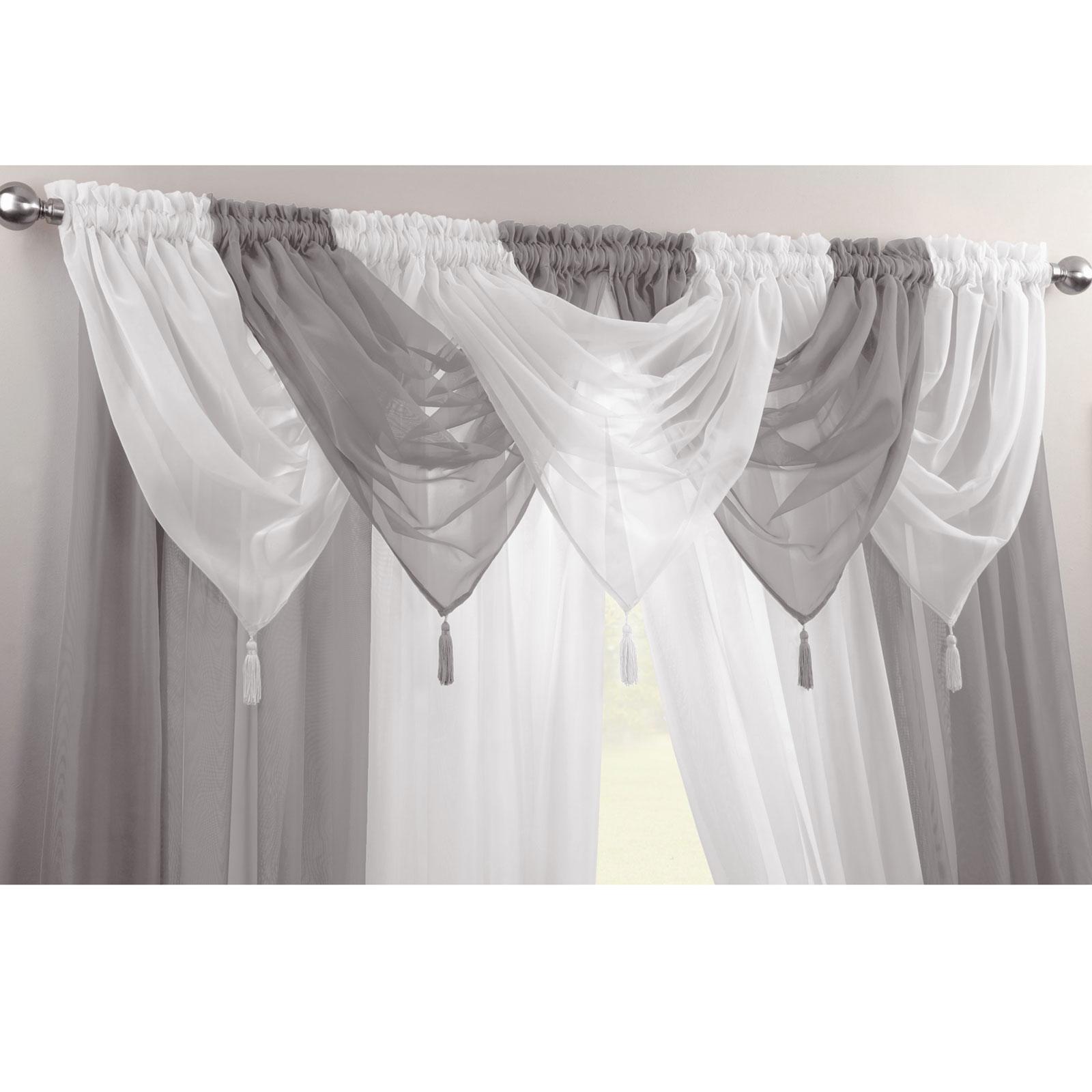 Plain-Tasselled-Voile-Swag-Net-Valance-Pelmet-For-Curtains-Slot-Top-Single