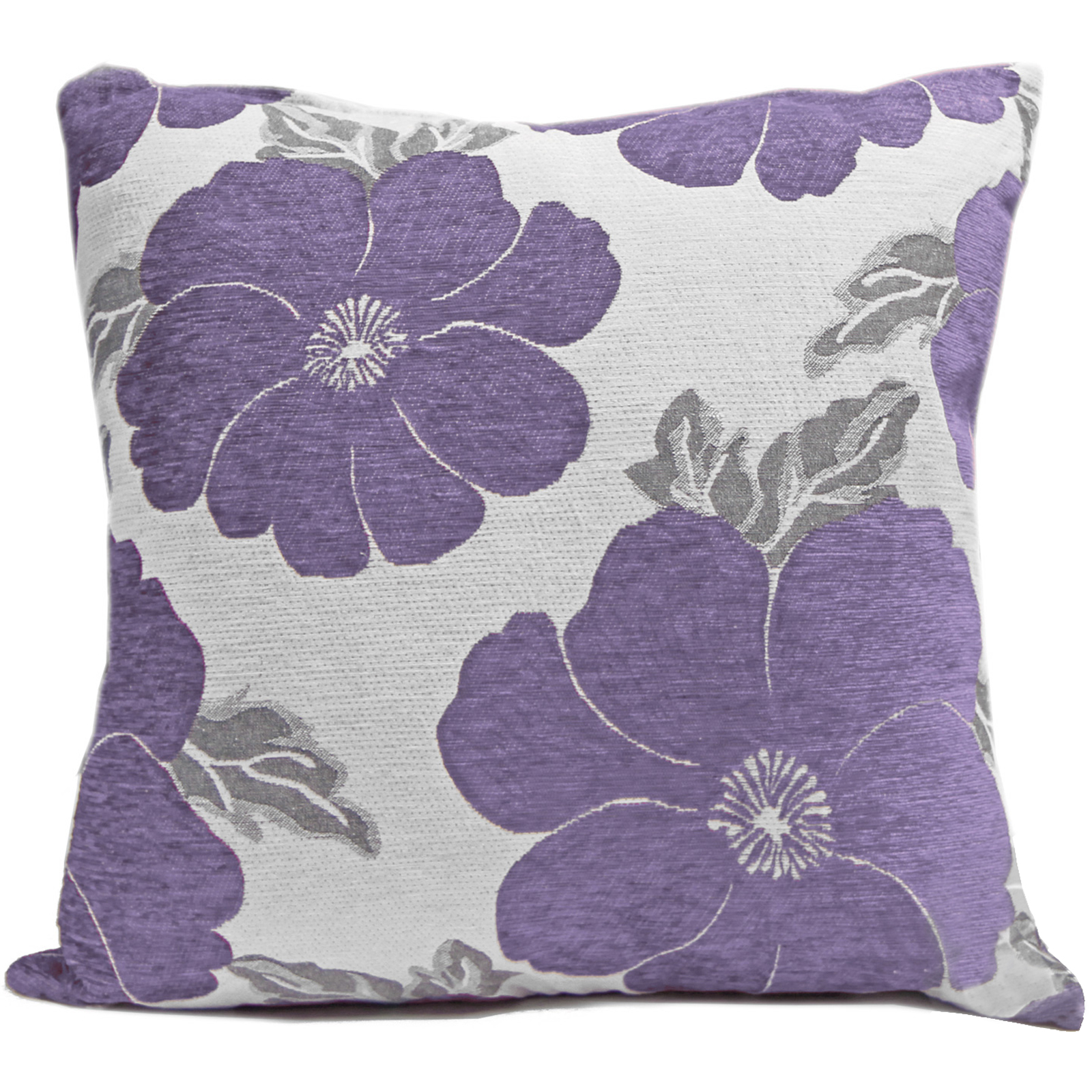 Chenille poppy cushions large small floral sofa bed for Purple chenille sofa