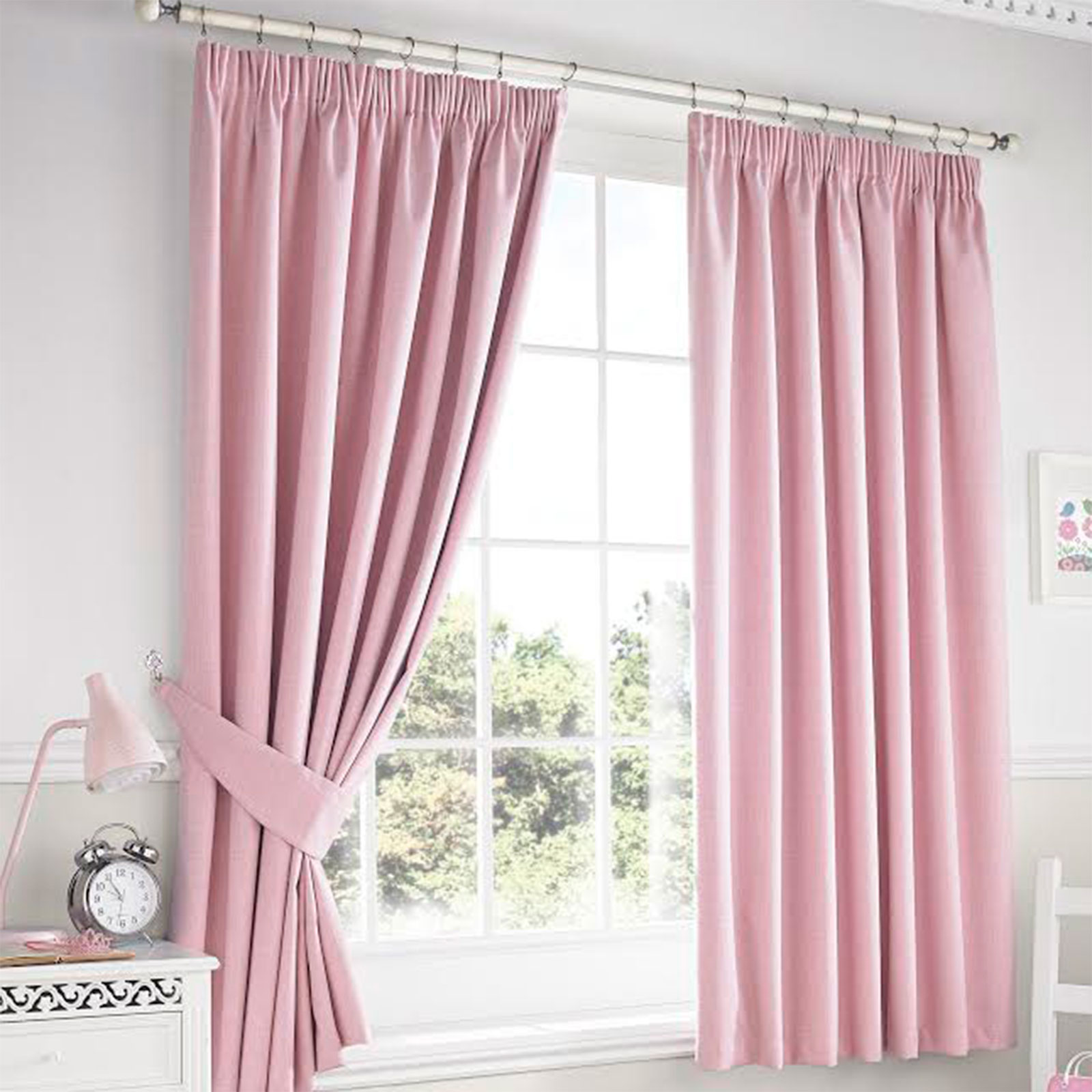 modern plain darwin blackout pencil pleat curtains pair. Black Bedroom Furniture Sets. Home Design Ideas