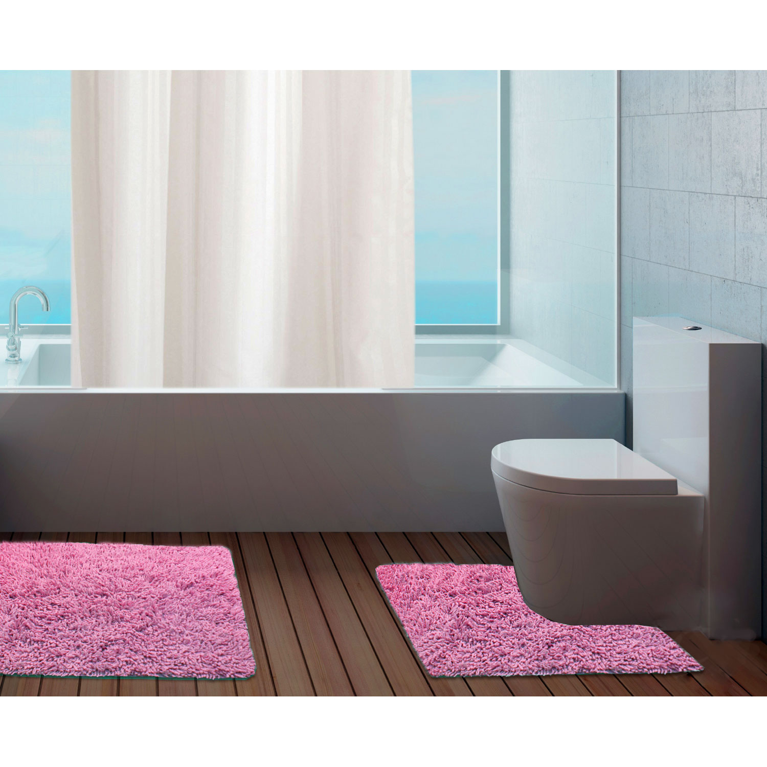 100% cotton bathroom mats set - washable bath & pedestal mat
