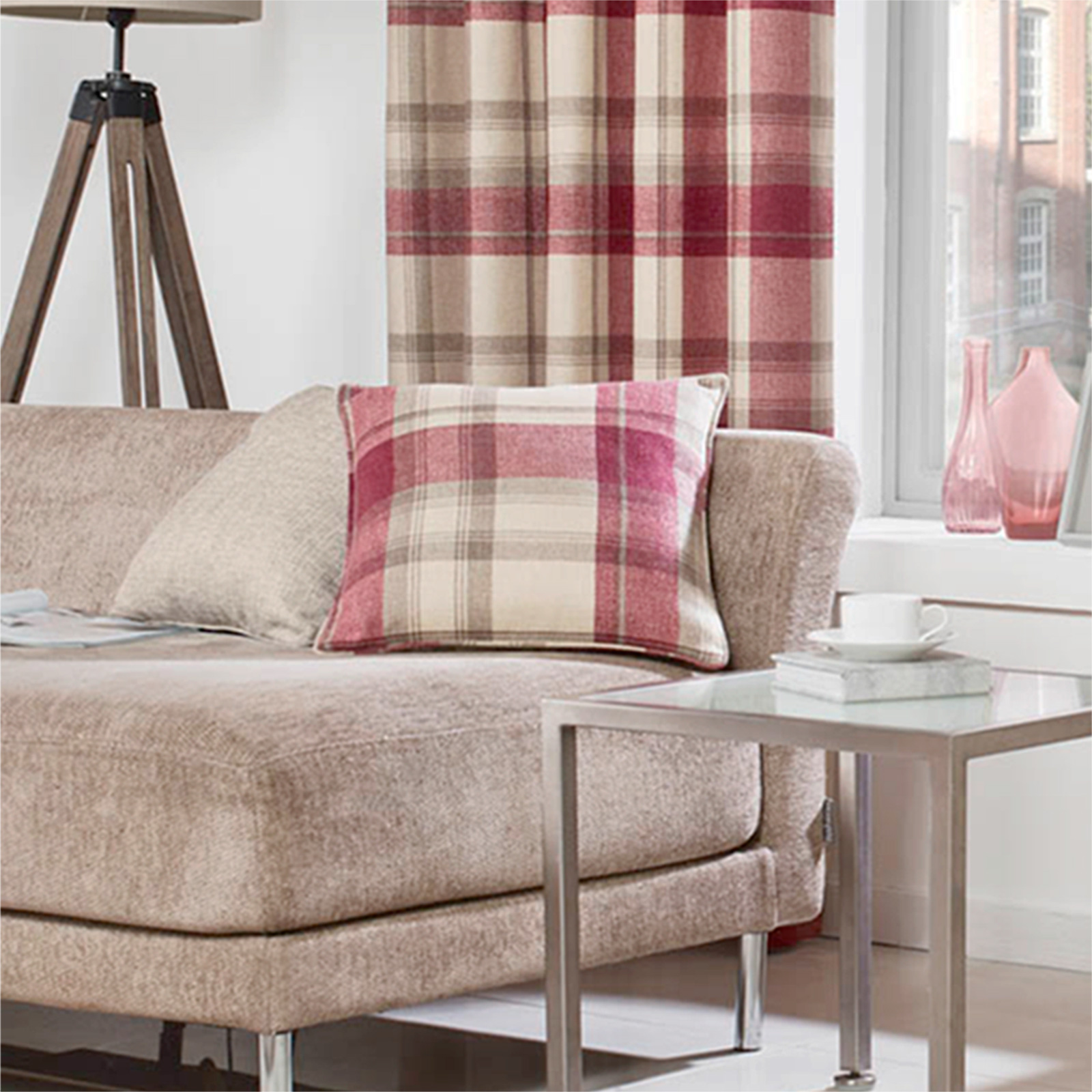 warm cosy rustique tartan check coussin d coratif avec laine tiss e feel pour canap ebay. Black Bedroom Furniture Sets. Home Design Ideas