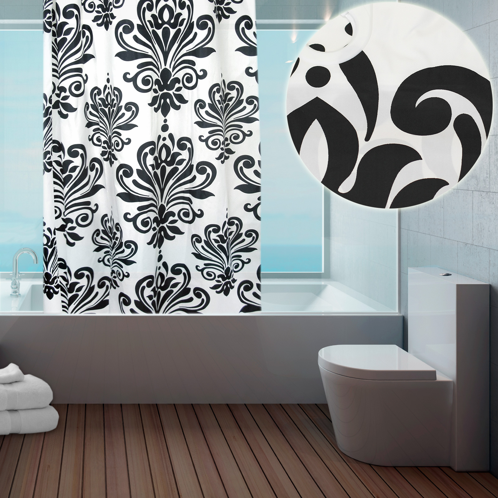 Modern Fabric Hookless Ring Top Shower Curtain For Bathroom 180 X 184cm Long Ebay