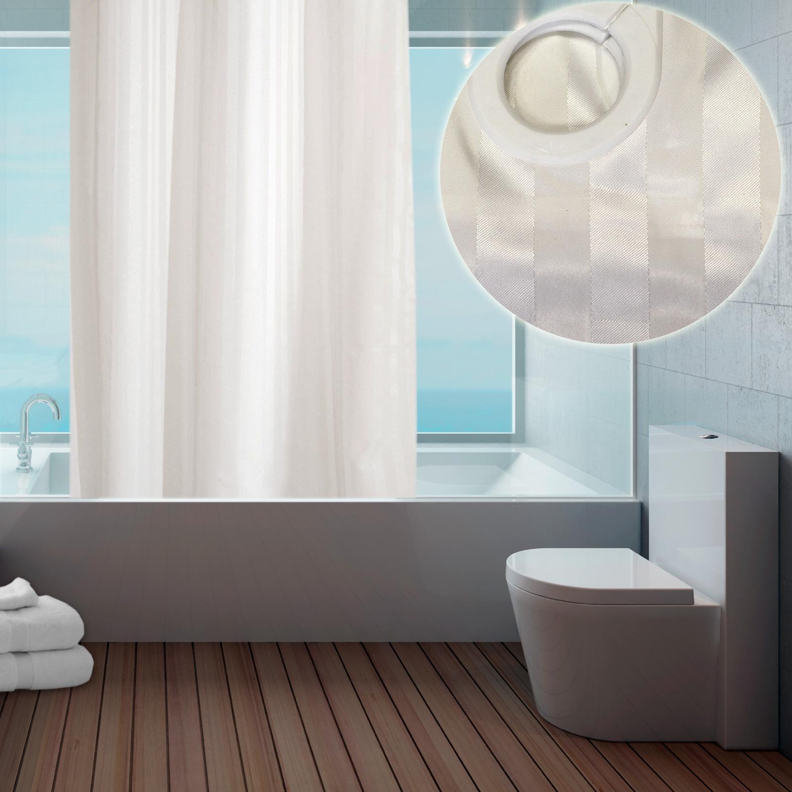 Moderne tissu hookless anneaux rideau de douche pour salle for Rideau de douche moderne