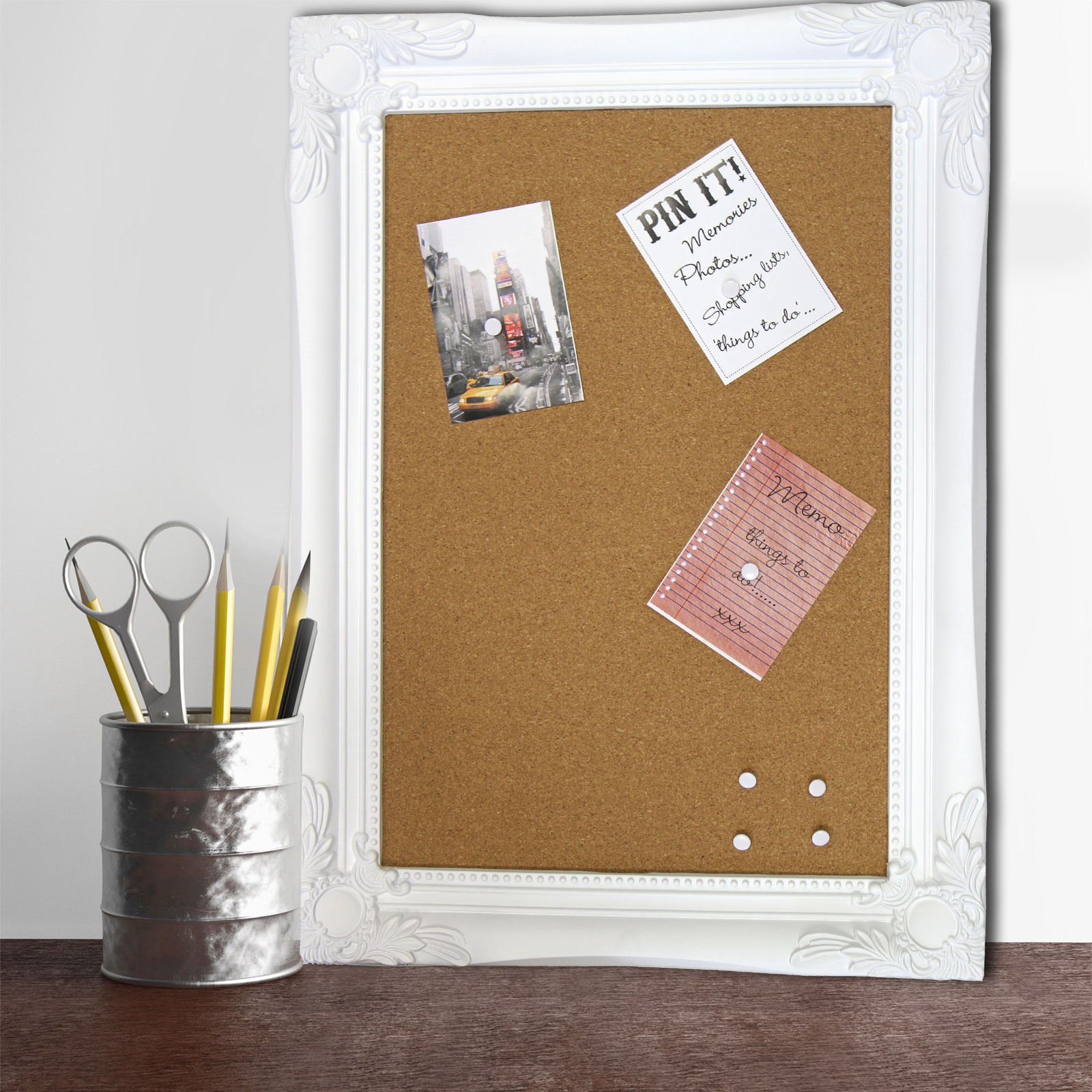 large modern chic framed cork pin board memo notice board for home office ebay. Black Bedroom Furniture Sets. Home Design Ideas