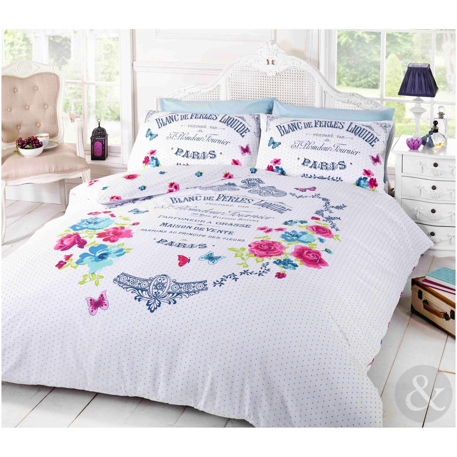 fran ais paris housse de couette shabby chic floral papillon blanc literie ensemble de lit ebay. Black Bedroom Furniture Sets. Home Design Ideas