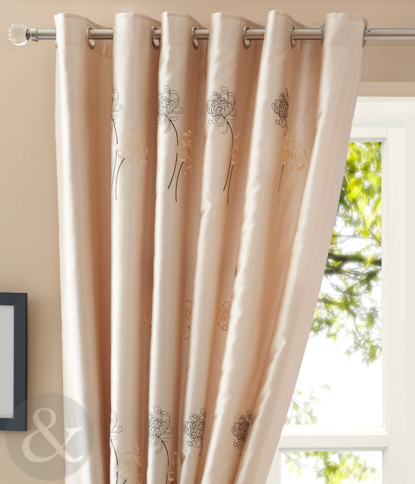 Milan lined voile curtains embroidered floral ring top