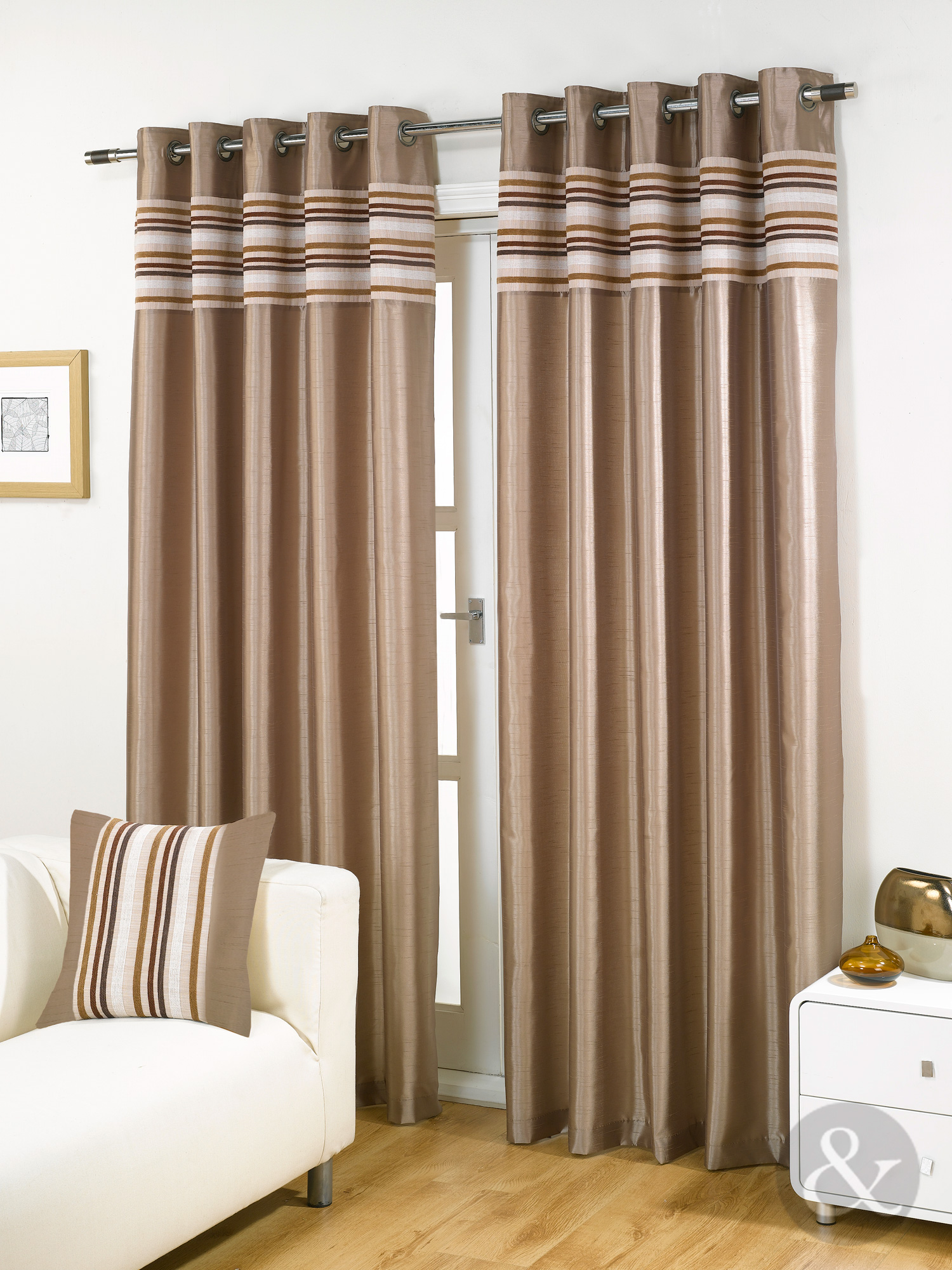 Striped Chenille Silk Curtains Luxury Eyelet Ring Top Ready Made Lined Curtain Ebay