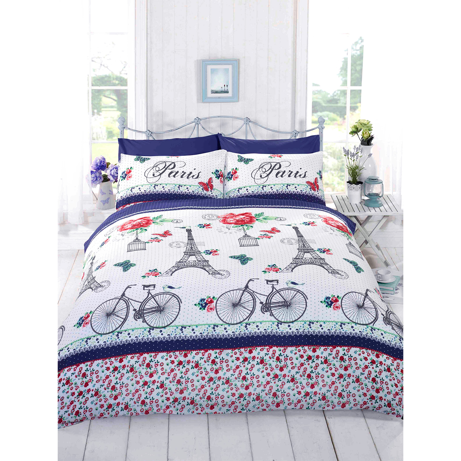 French chic paris duvet cover girls floral rose butterfly for Paris bedding