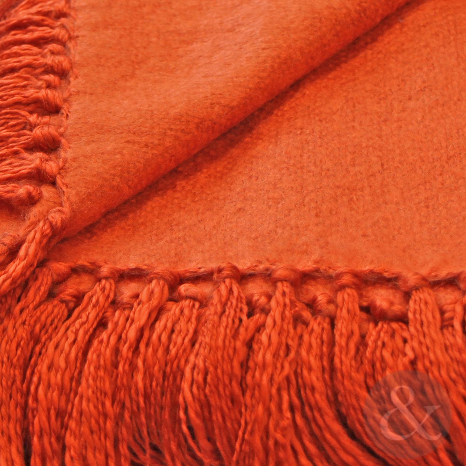 Plain Woven Fringe Throw Soft Acrylic Bed Blanket Sofa  : chiltern throw burntorange closeup2 from www.ebay.co.uk size 1600 x 1600 jpeg 819kB
