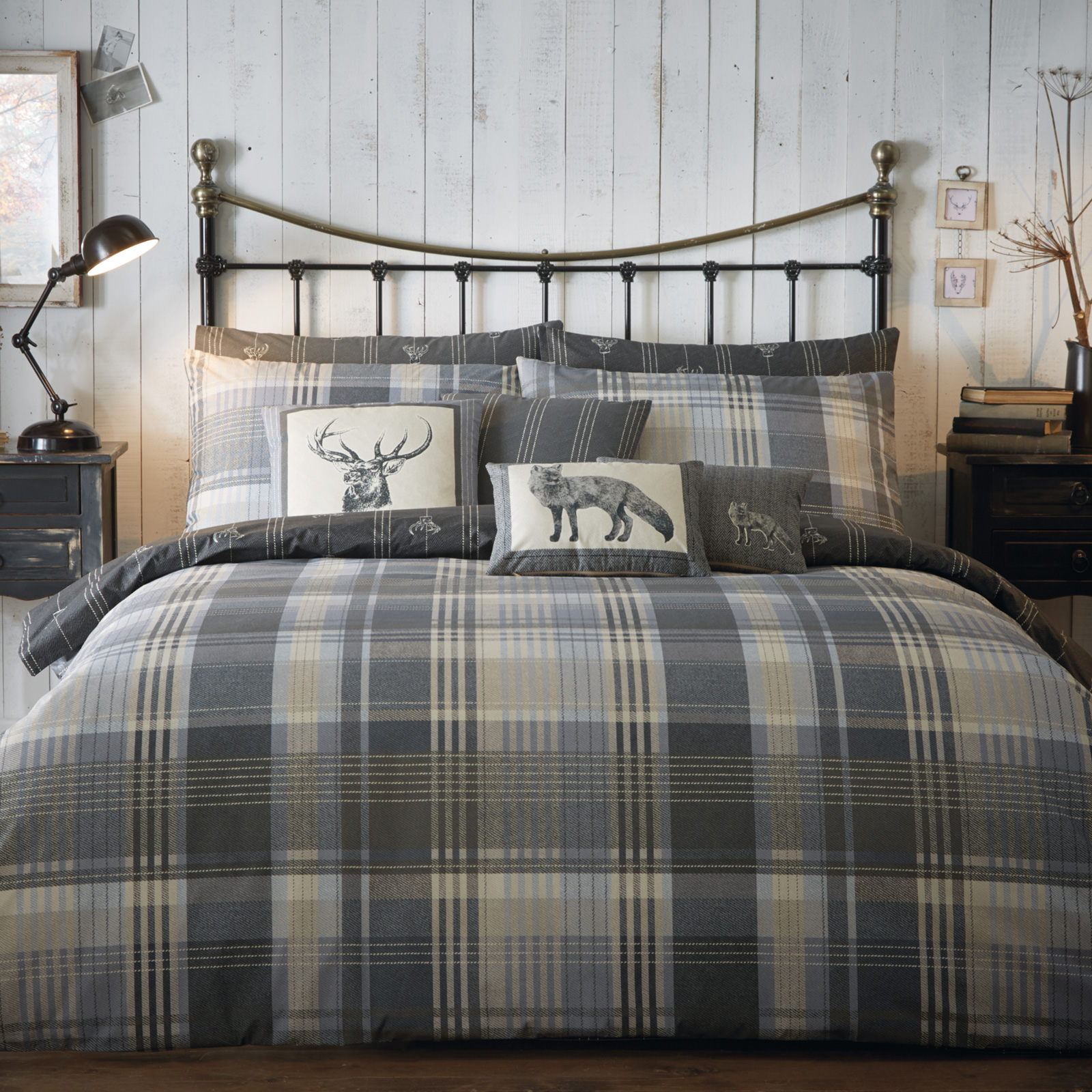 tartan 100 brushed cotton flannelette duvet cover set