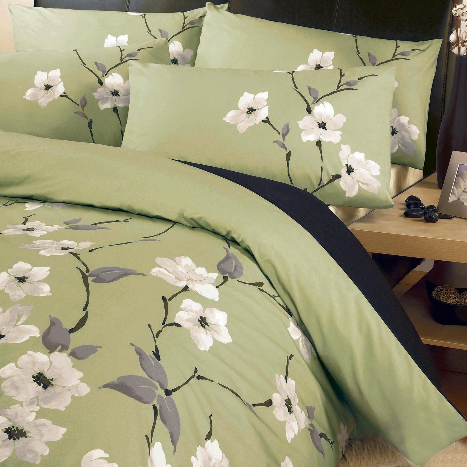 Oriental floral duvet cover set luxury poly cotton bedding for Housse de couette orientale