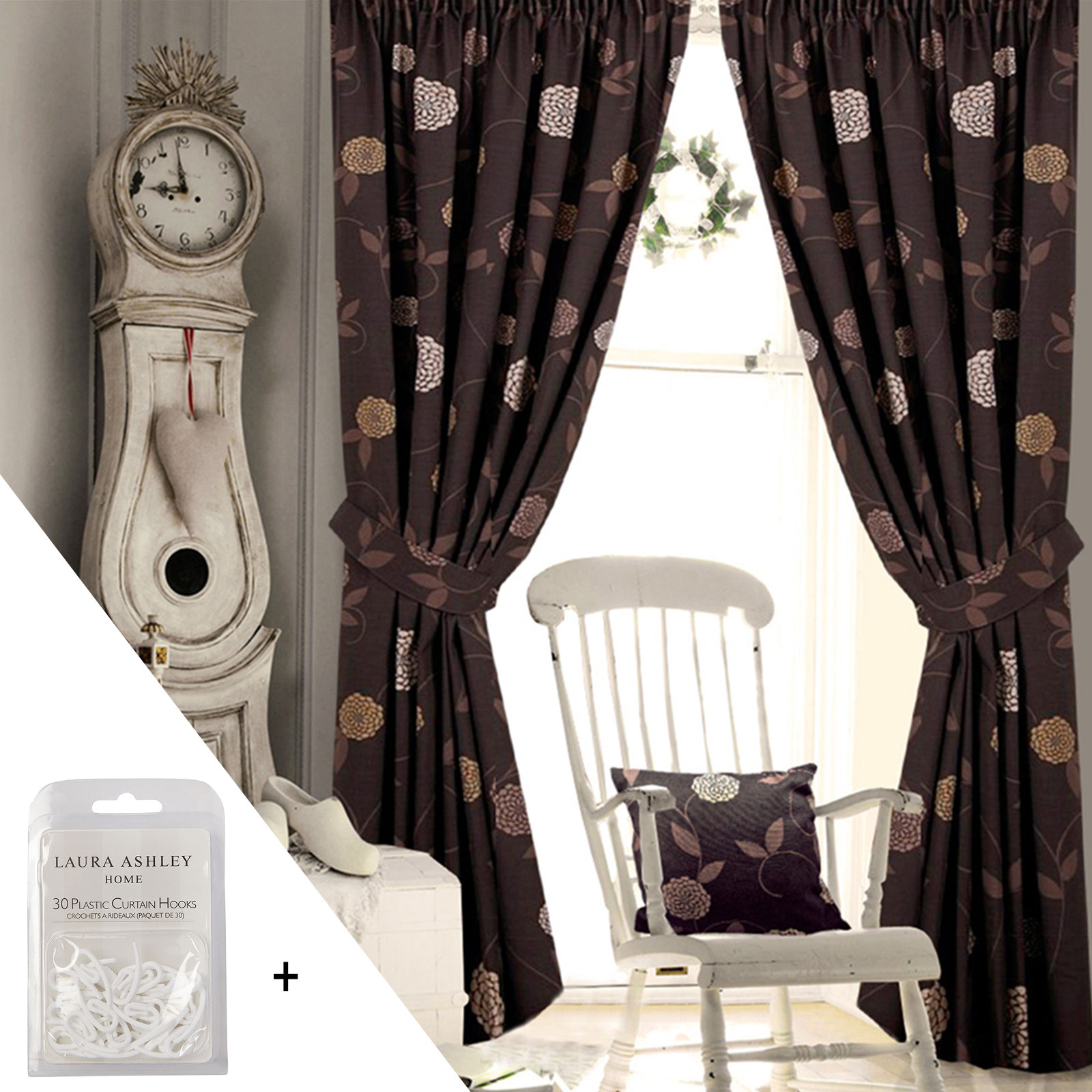 Floral Pencil Pleat Curtains Living Room Bedroom Ready Made Fully Lined Curtain Ebay