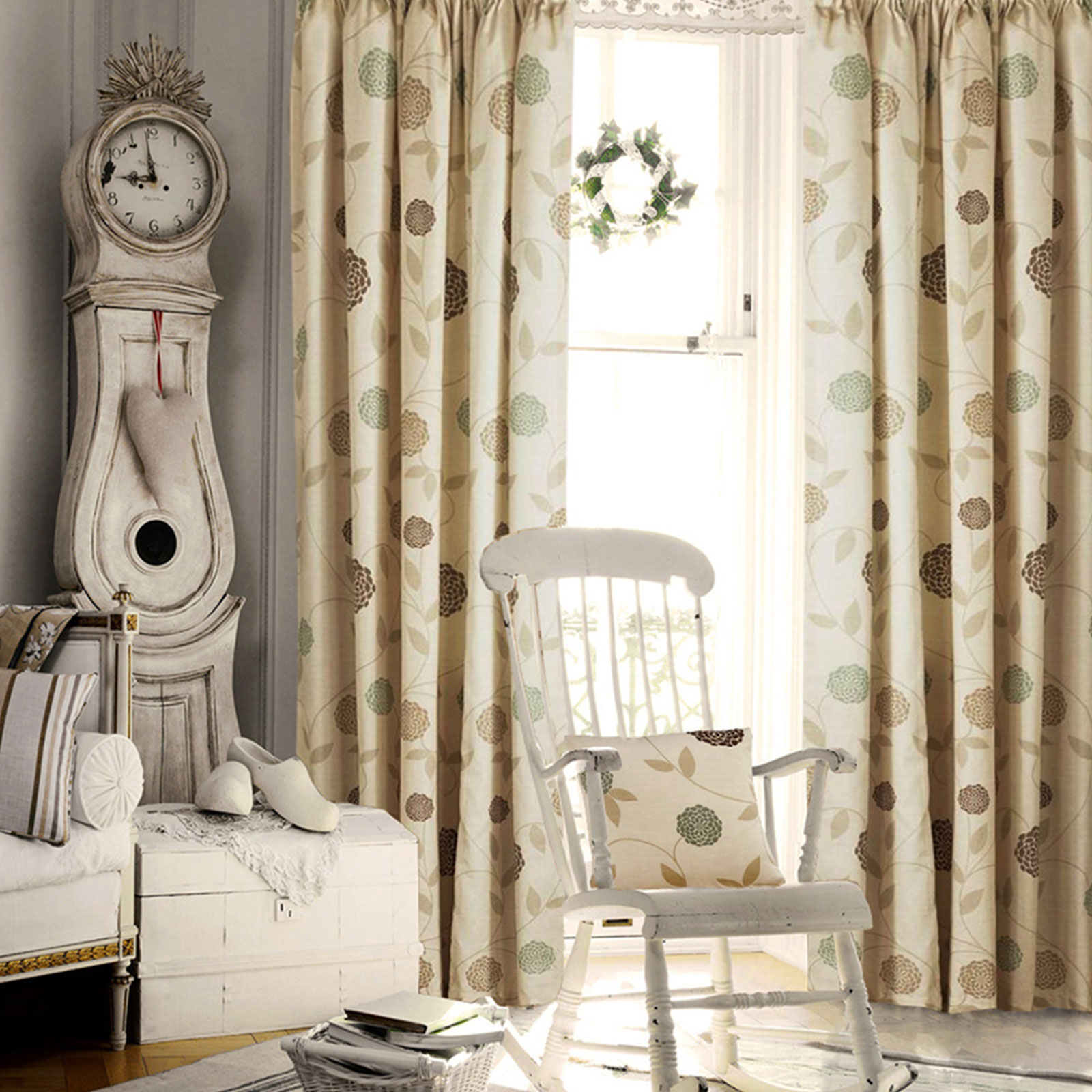 Lined Bedroom Curtains Floral Pencil Pleat Curtains Living Room Bedroom Ready Made Fully