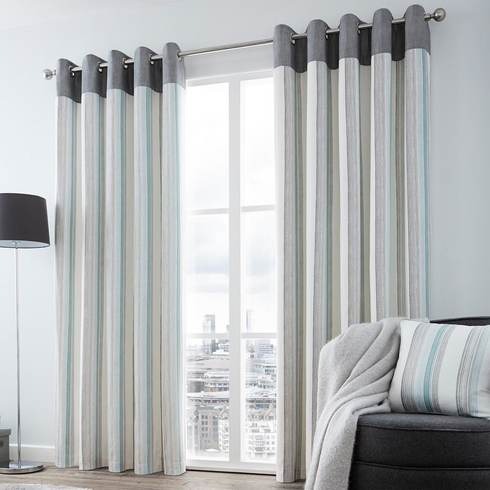 fully lined eyelet curtains with striped vertical pattern. Black Bedroom Furniture Sets. Home Design Ideas