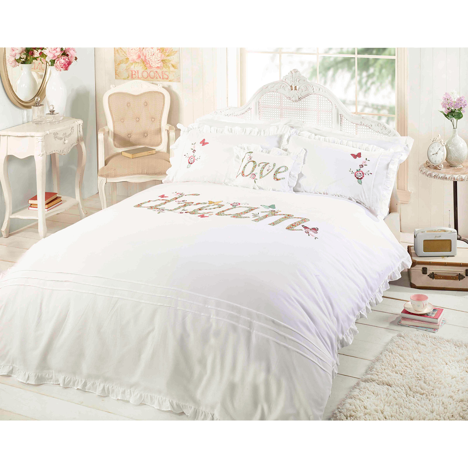 Shabby Chic Duvet Cover Luxury Embroidered Applique