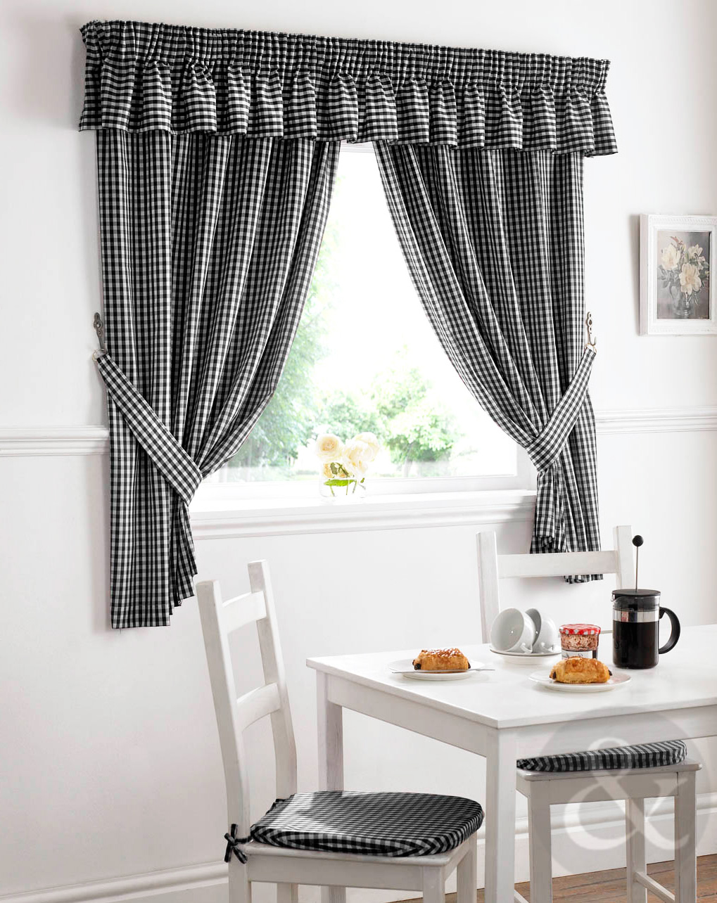 Gingham Check Kitchen Curtains Ready Made Pencil Pleat Net Curtain Set Ebay