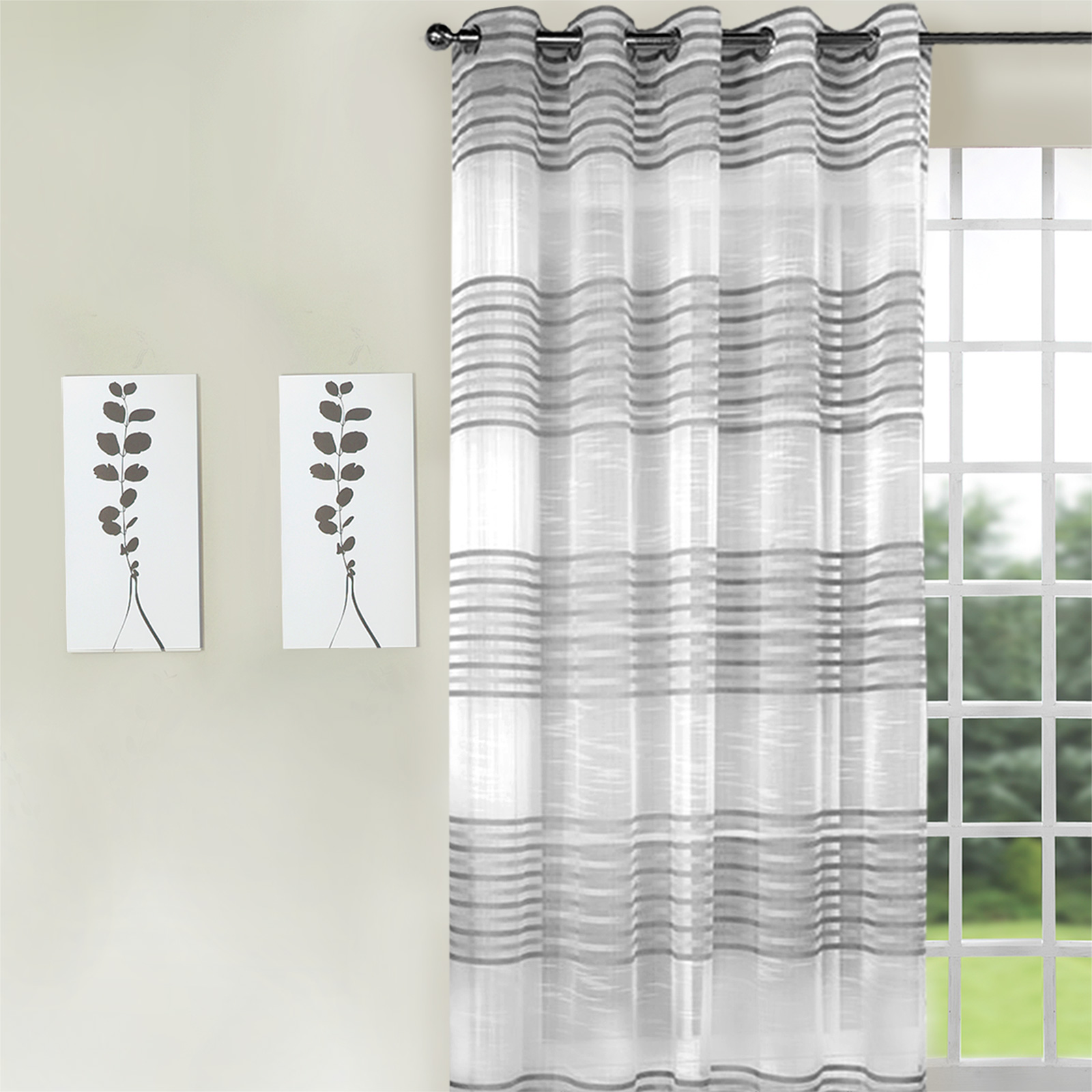 Black white striped curtains horizontal