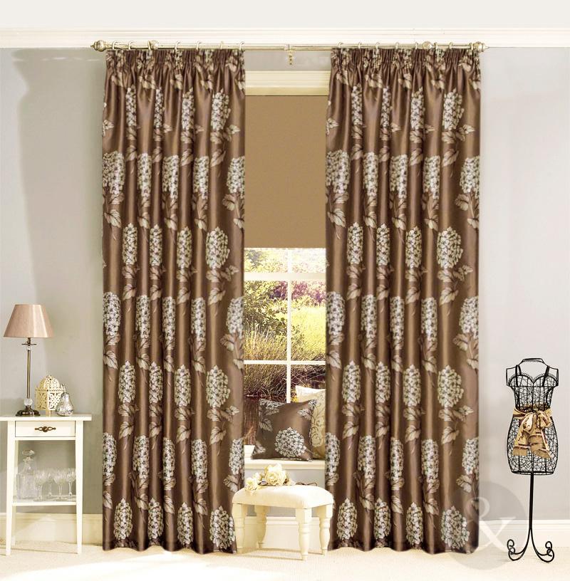 de luxe rideaux fausse soie imprim floral ruban crayon pliss doubl rideau. Black Bedroom Furniture Sets. Home Design Ideas