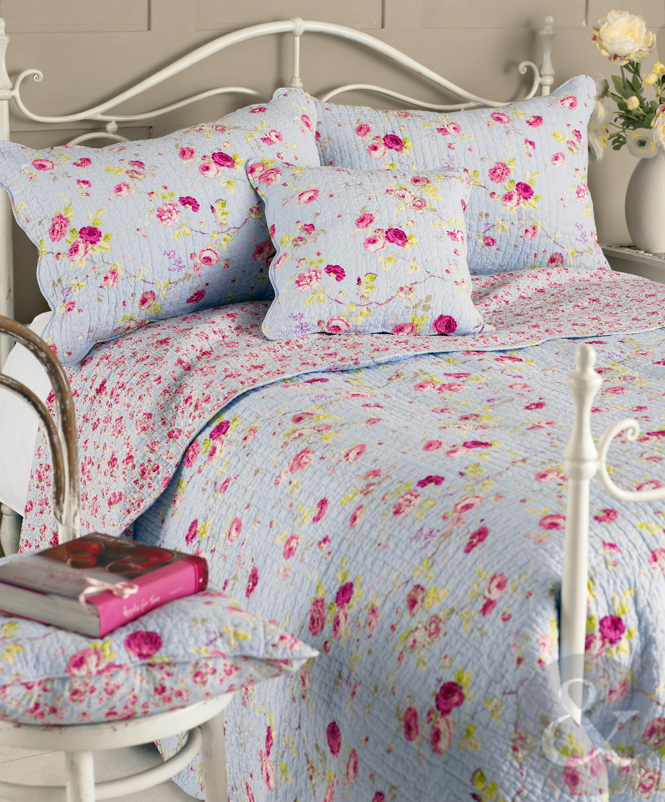 floral vintage cotton bedspread luxury shabby chic quilted reversible bed throw ebay. Black Bedroom Furniture Sets. Home Design Ideas