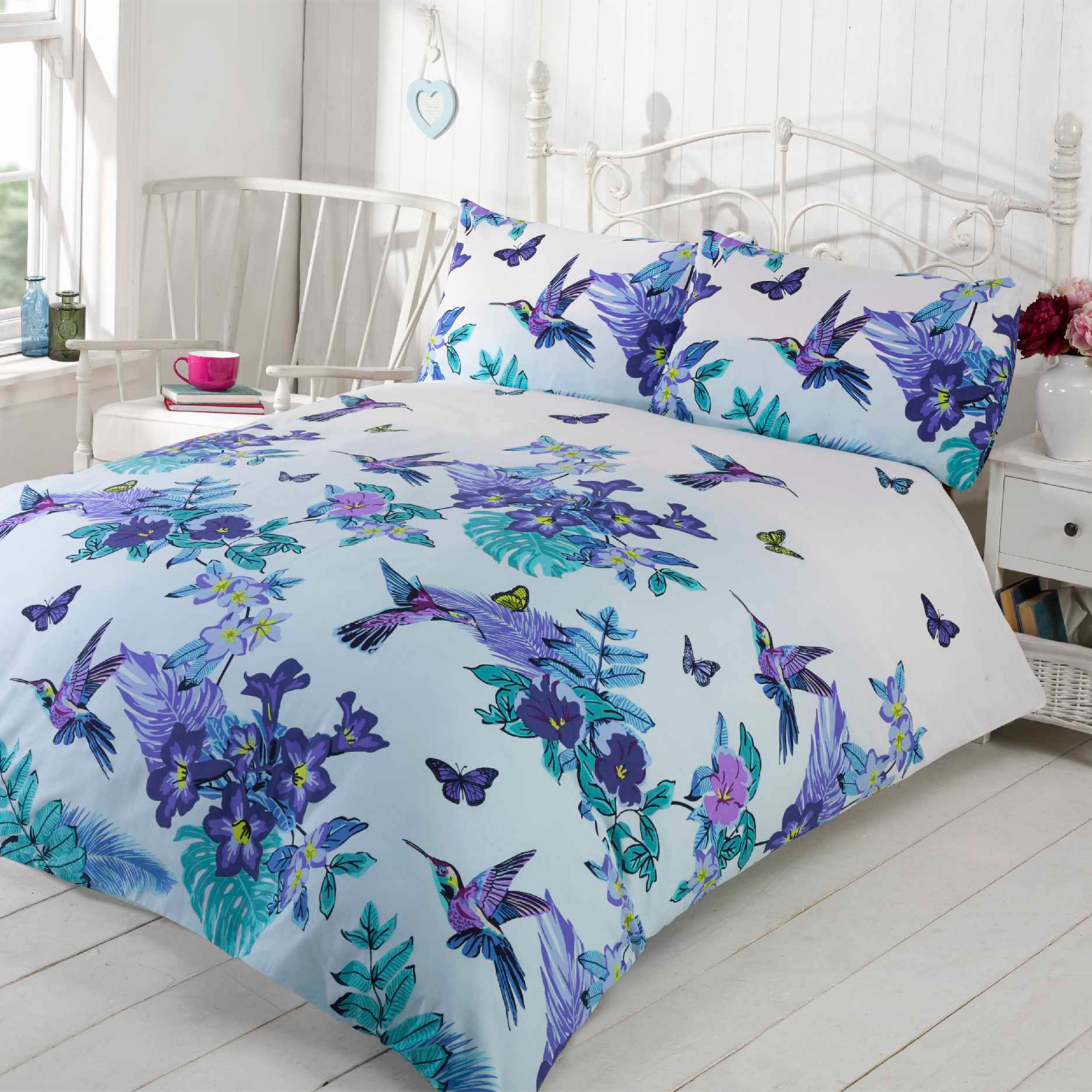 Tropical nature humming birds duvet cover set with pretty for Housse couette fly
