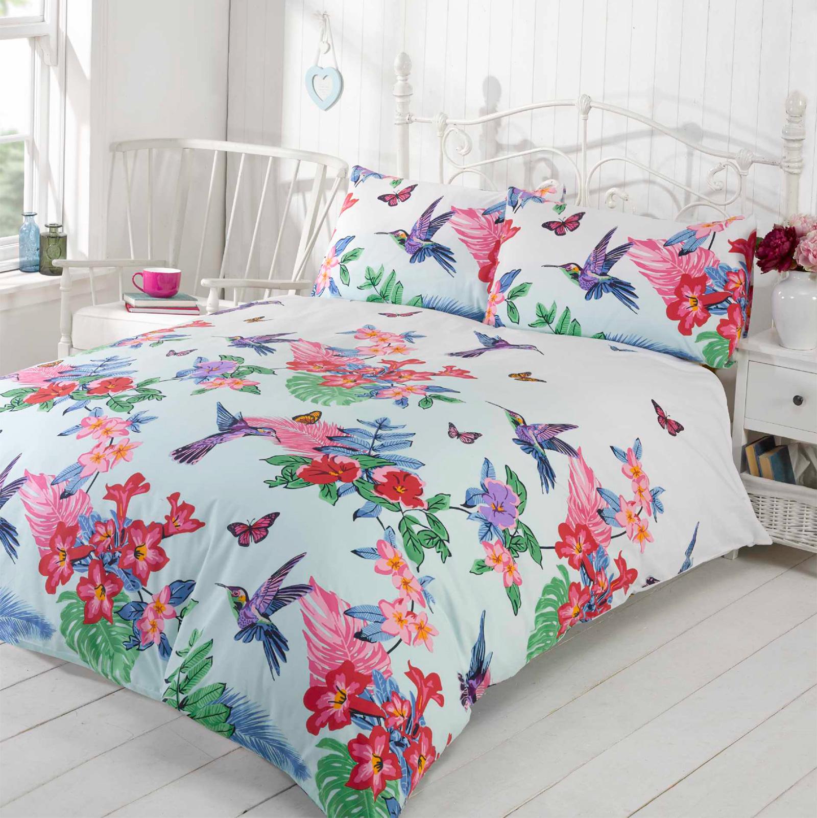 tropical nature humming birds duvet cover set with pretty flowers  - tropicalnaturehummingbirdsduvetcoversetwith