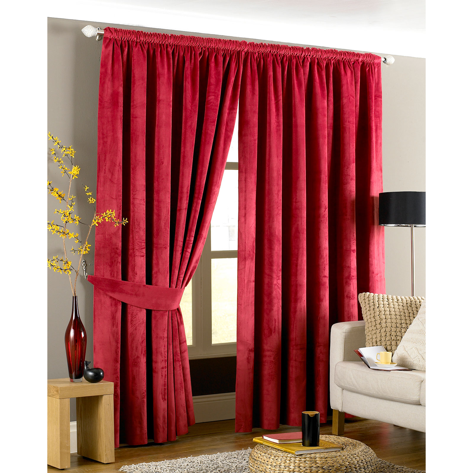 velvet pencil pleat curtains ready made fully lined. Black Bedroom Furniture Sets. Home Design Ideas