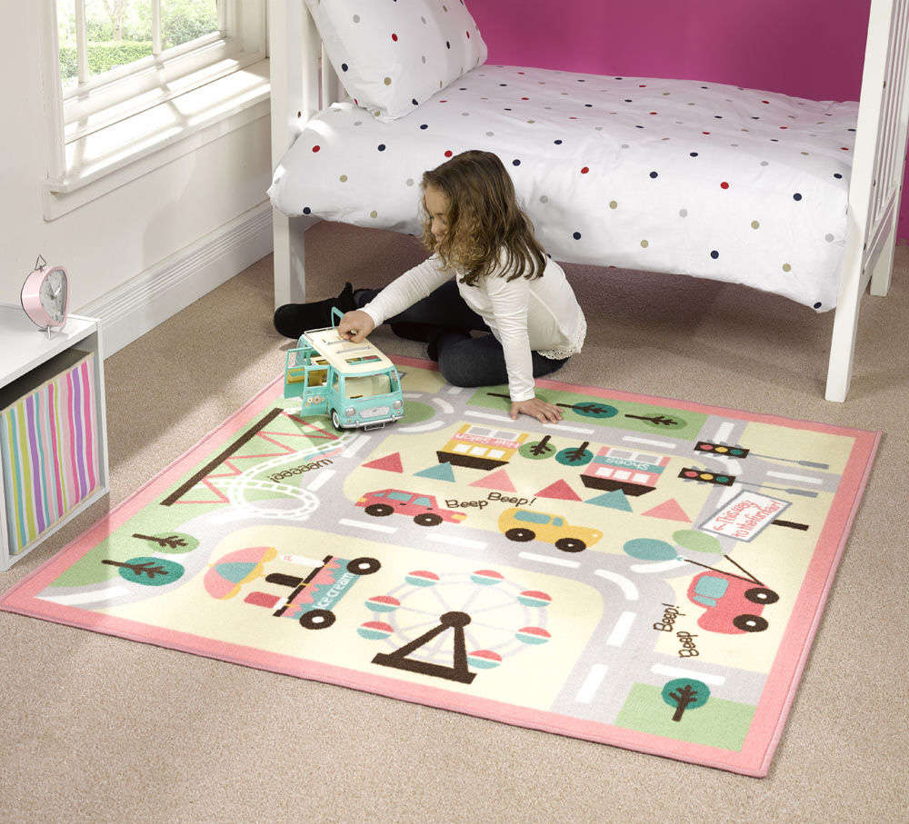 childrens kids rug pink summertime butterfly bedroom rugs. childrens ...