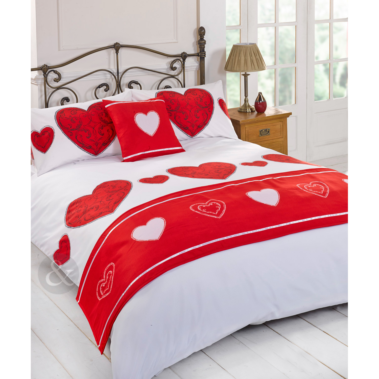Vintage Love Heart Complete Bed Set Printed Duvet Cover