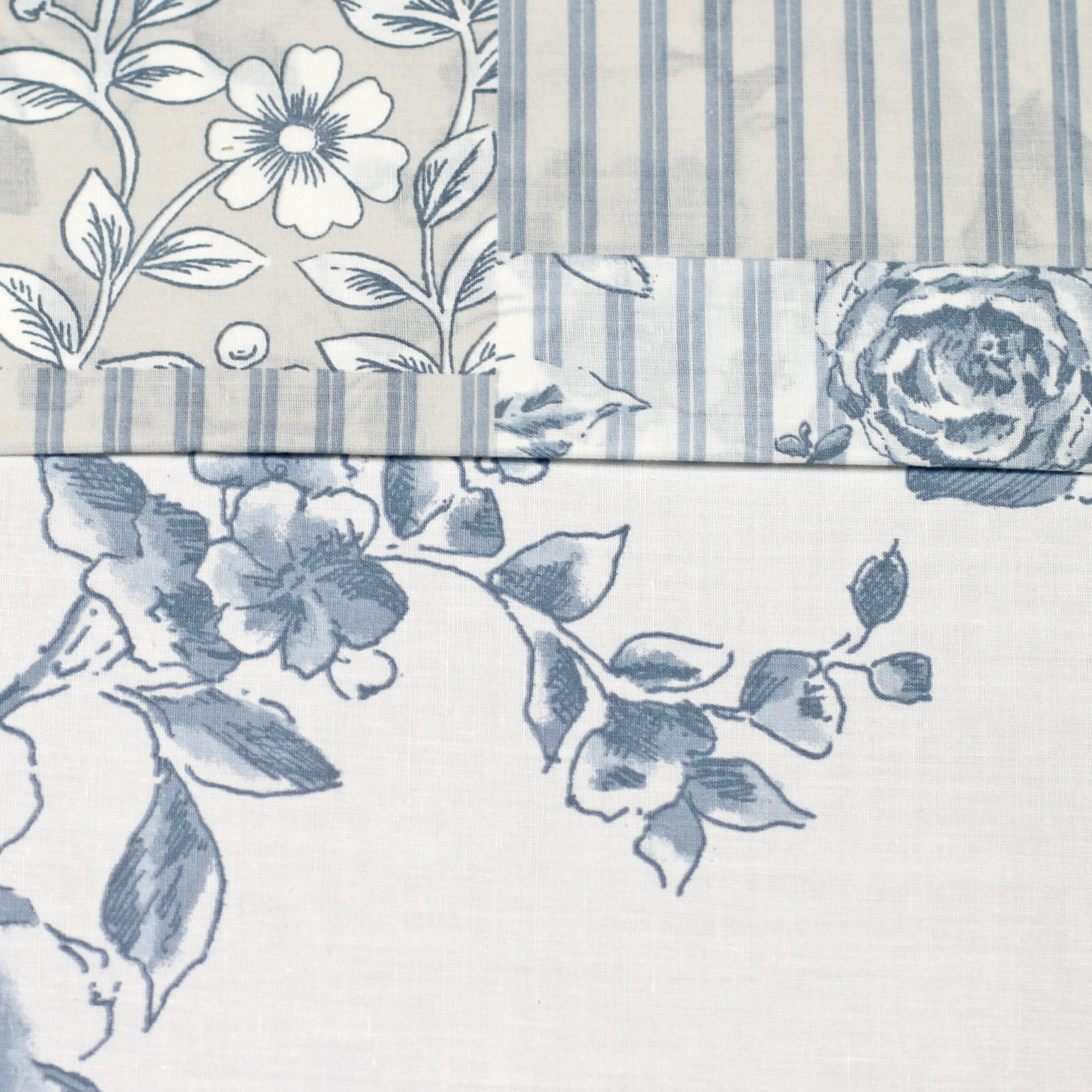 French Country Toile Duvet Cover With Florals & Reversible Patchwork Stripes