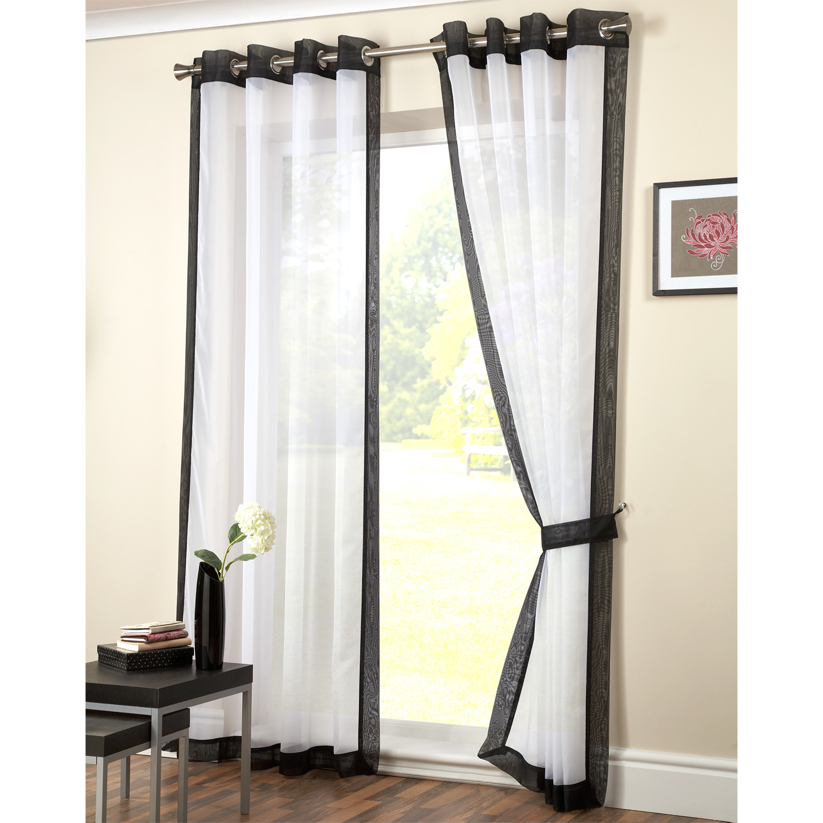 modern eyelet voile panel plain ring top ready made. Black Bedroom Furniture Sets. Home Design Ideas