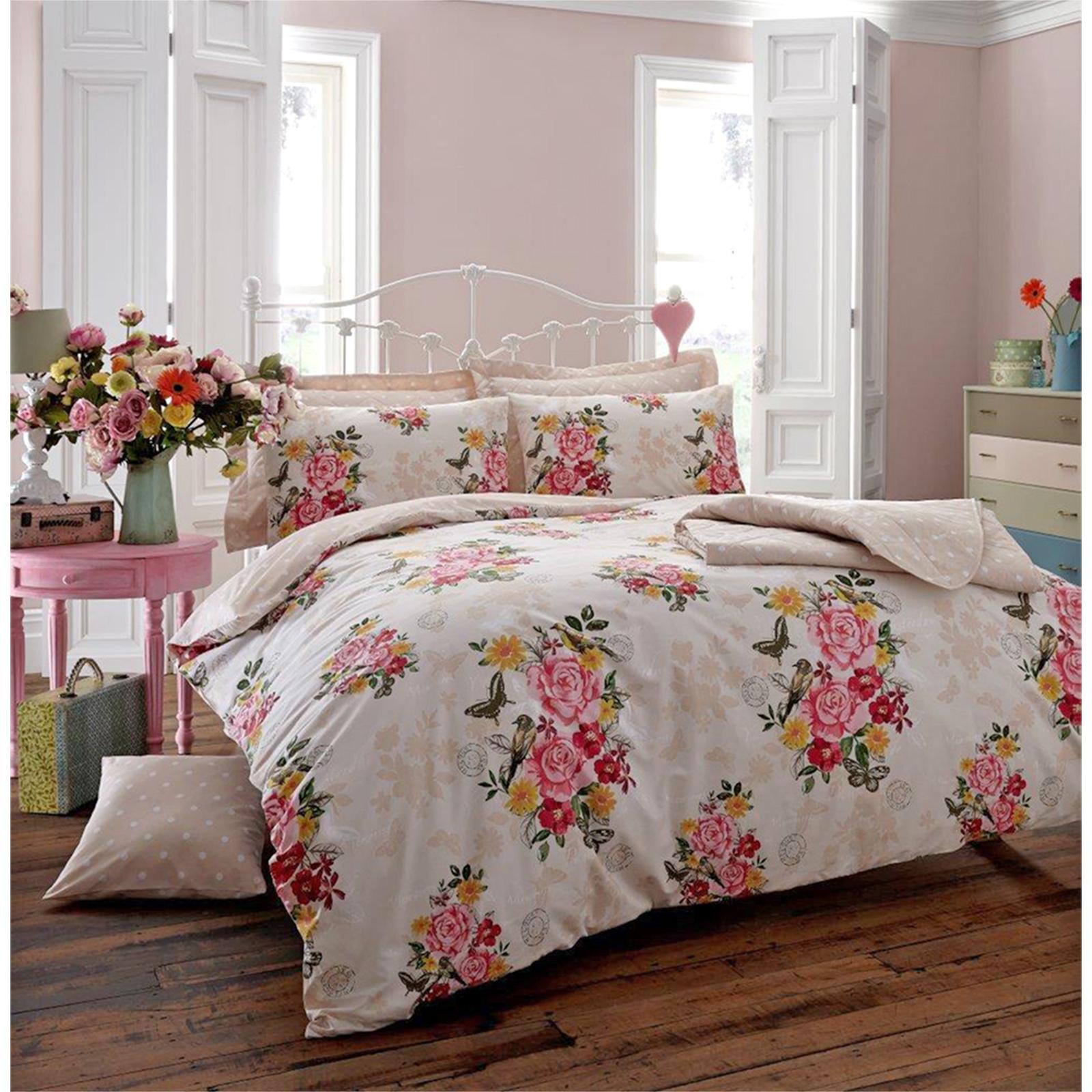 plus recherch s vintage roses jardin housse de couette avec des fleurs oiseaux papillon ebay. Black Bedroom Furniture Sets. Home Design Ideas