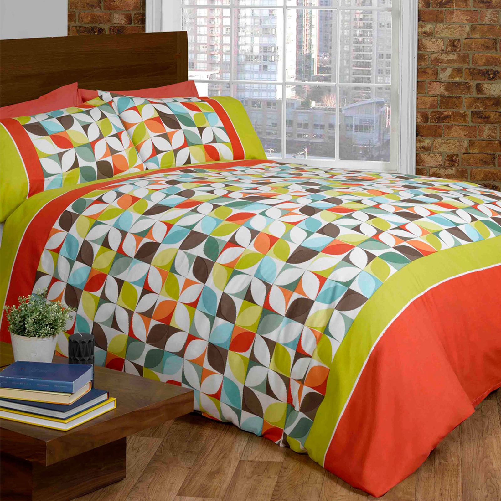 colourful kaleidoscope duvet cover set with geometric retro florals squares ebay. Black Bedroom Furniture Sets. Home Design Ideas