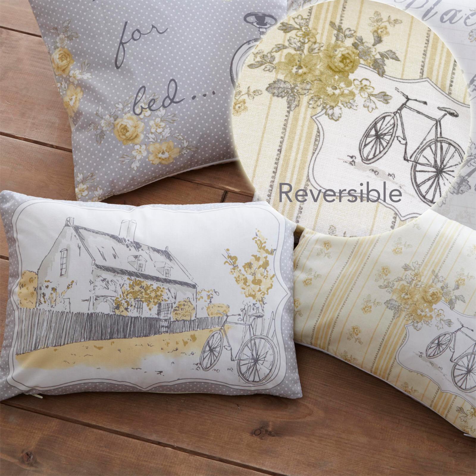 shabby campagne chic housse de coussin avec fleurs r versible motif pois ebay. Black Bedroom Furniture Sets. Home Design Ideas
