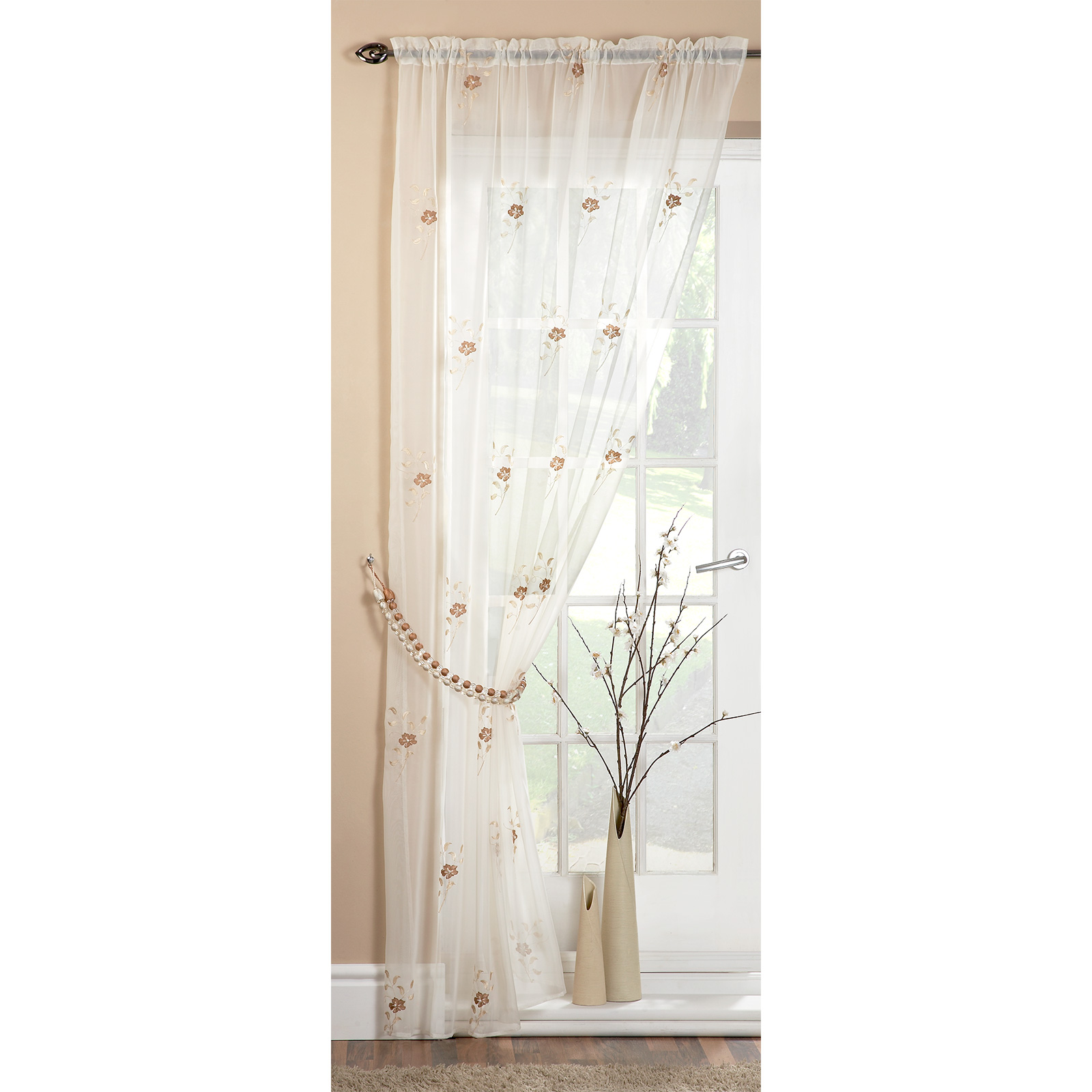 Pearl Voile Panel Floral Embroidered Ready Made Sheer Curtain Net Panel Ebay