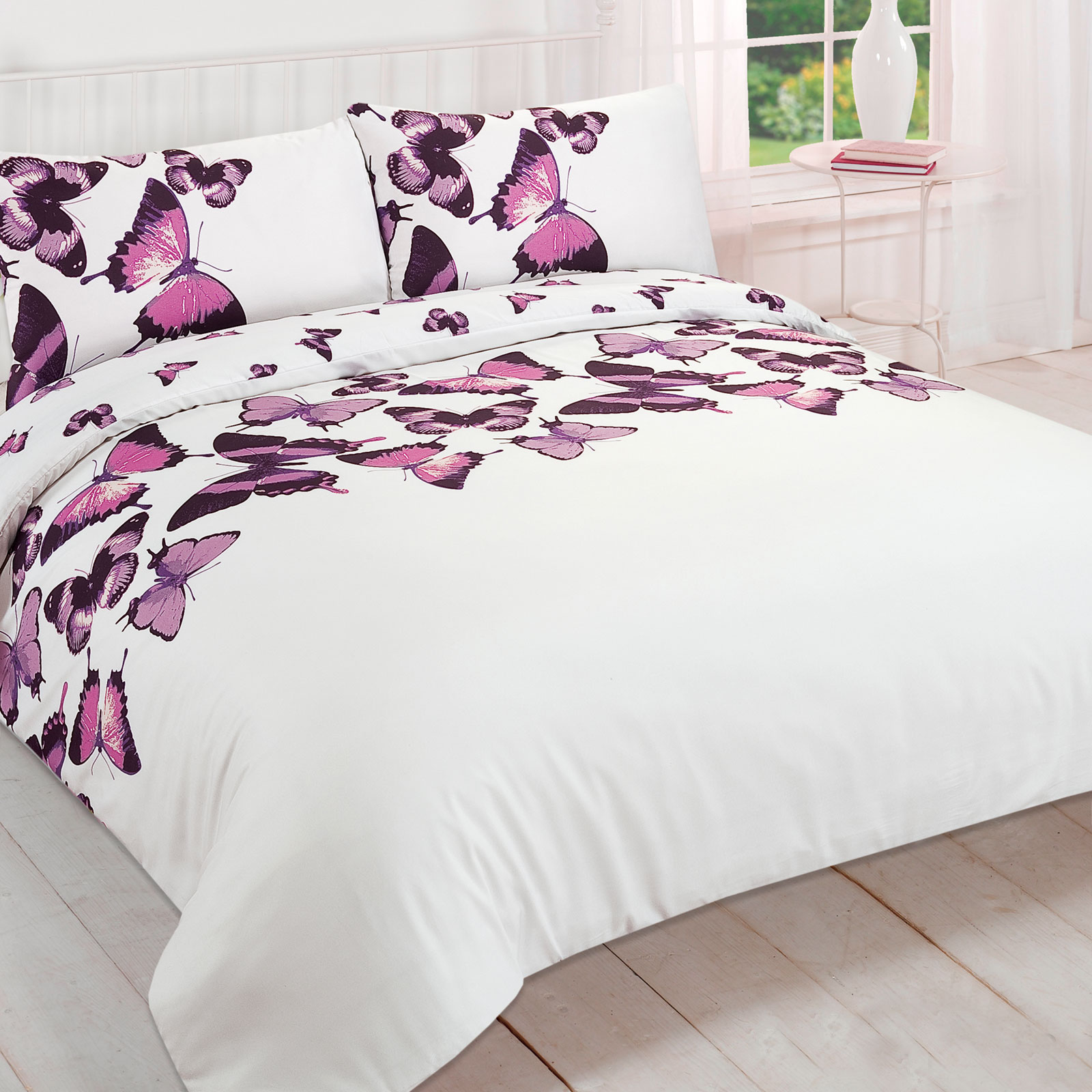 pretty butterfly duvet cover reversible bedding set