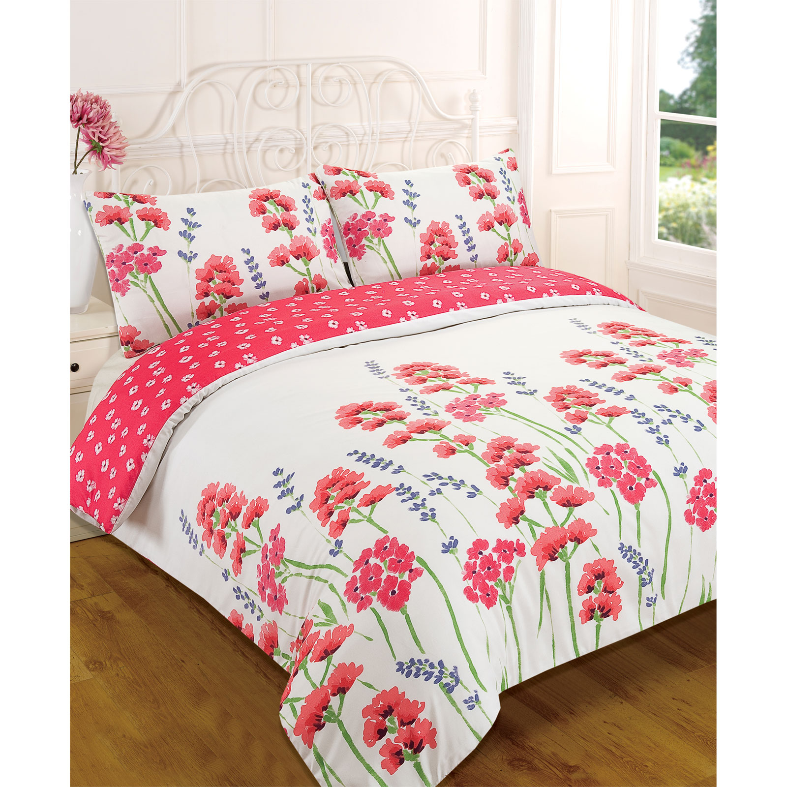 Wild flower meadow duvet cover reversible floral bedding for Wild bedding