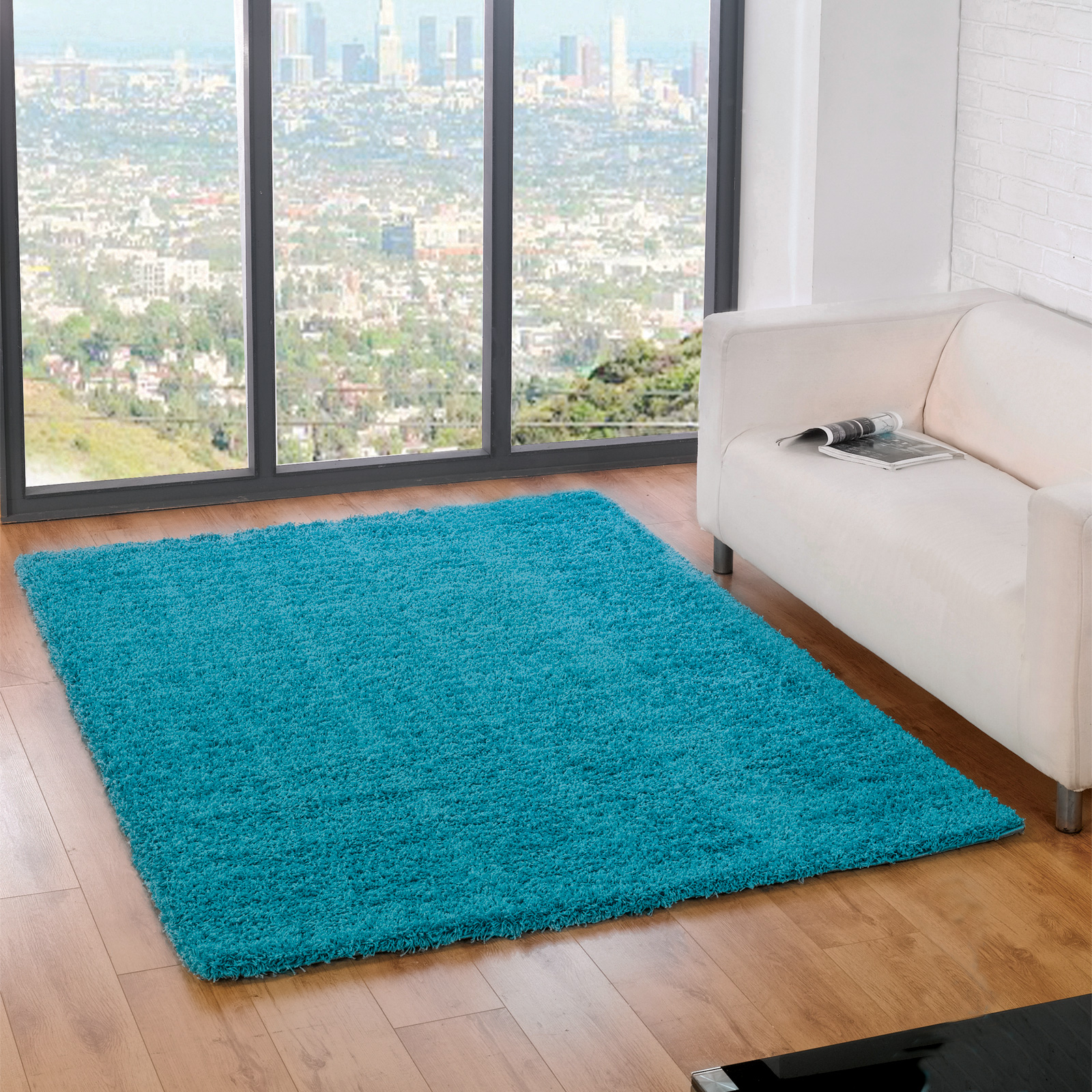 Plain shaggy carpet rug with 5cm deep pile soft warm for Soft carpet for bedrooms