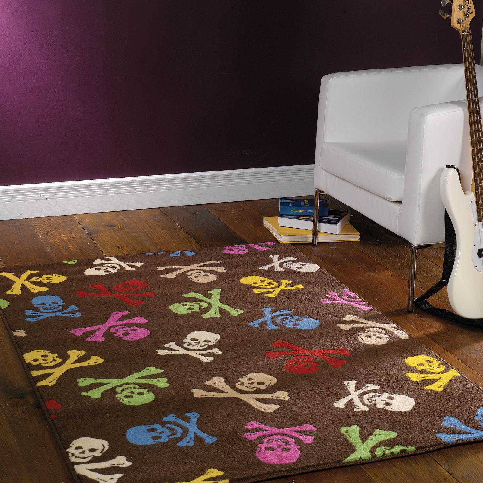Retro Trendy Pirate Skull Floor Carpet Rug Mat Ideal For Teenage Bed