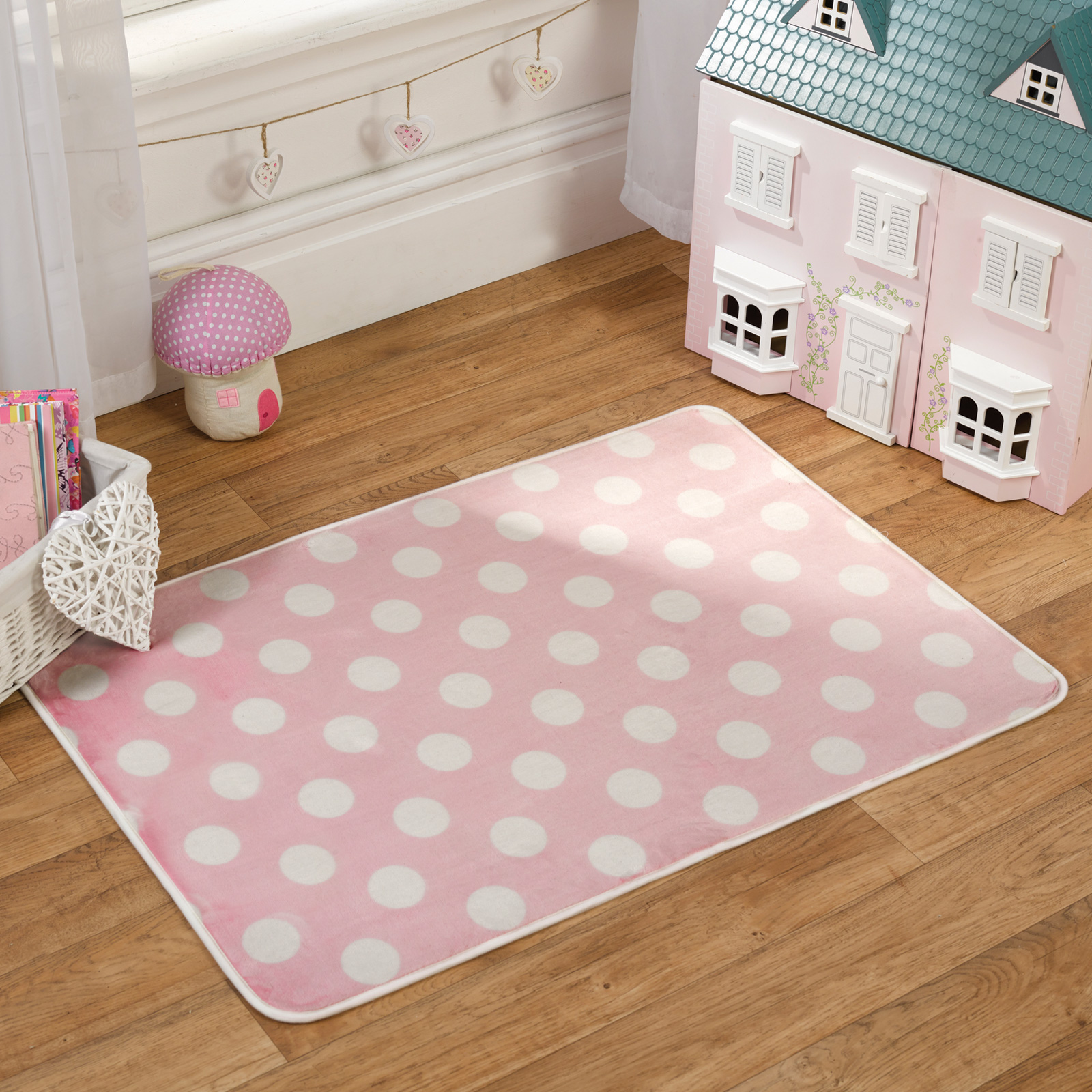 childrens pastel print nursery rug with super soft pile
