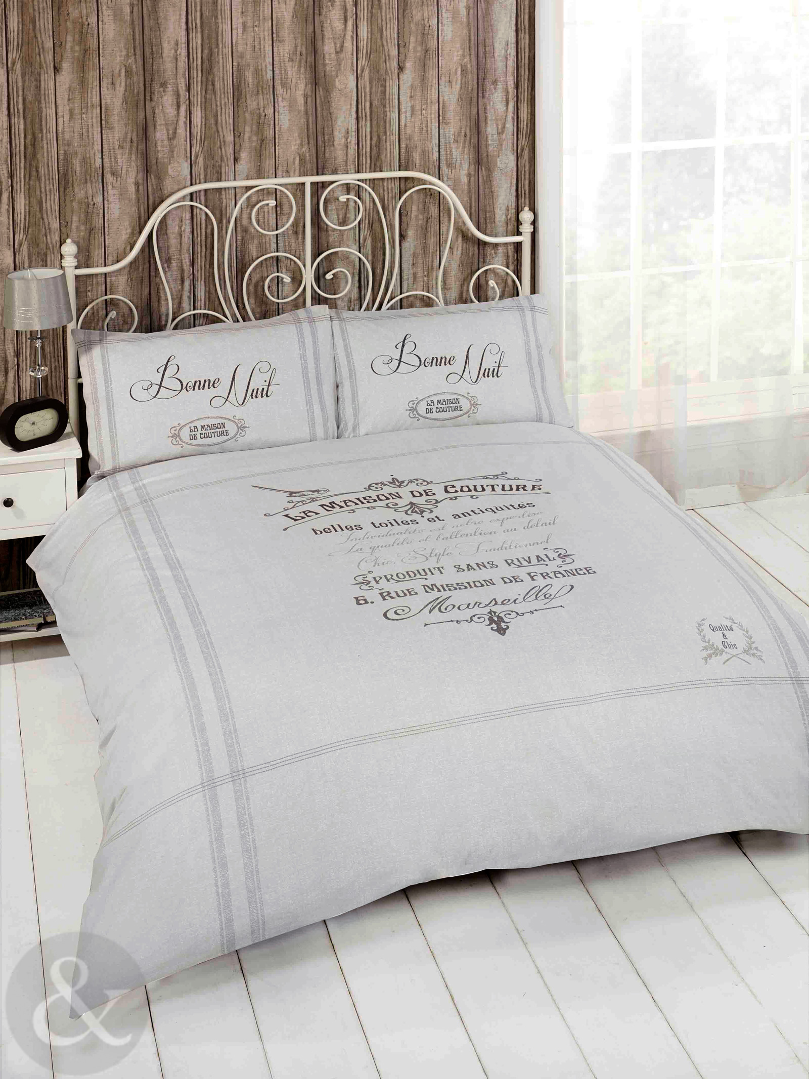 French shabby chic duvet cover luxury natural beige grey bedding bed set ebay - Housse de couette shabby chic ...