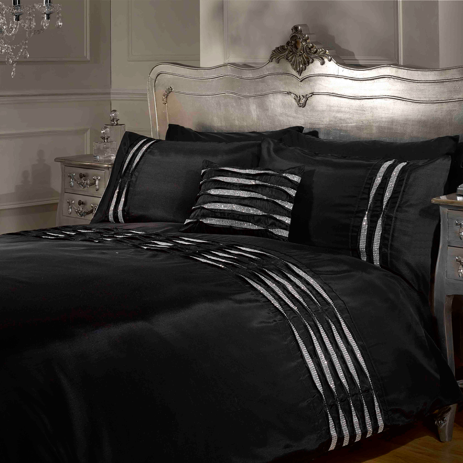 luxe crystal diamant housse de couette pintuck. Black Bedroom Furniture Sets. Home Design Ideas