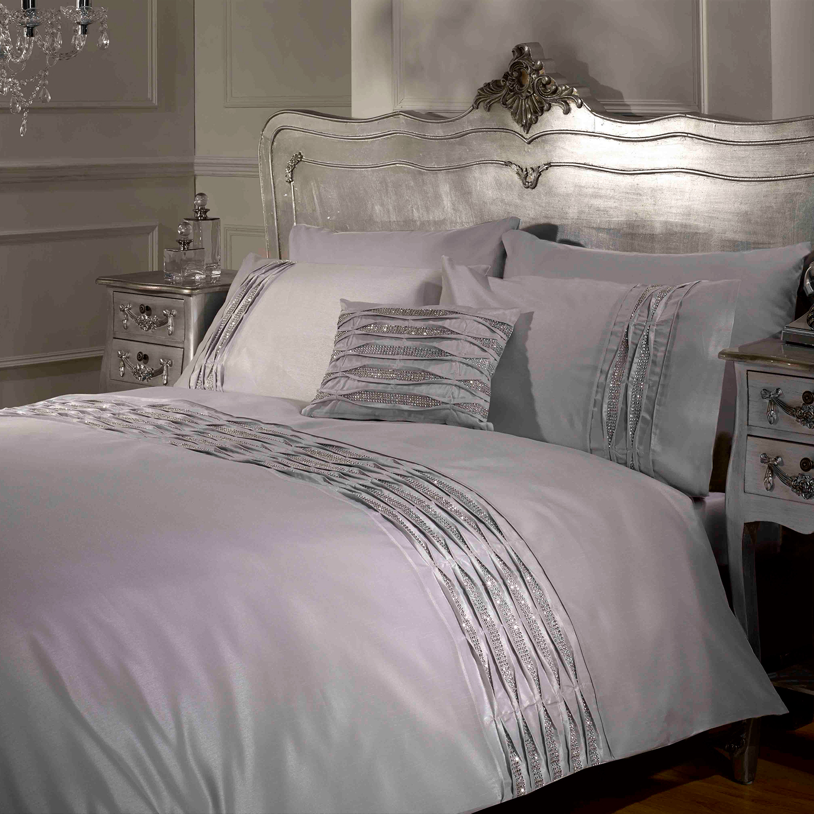 luxe crystal diamant housse de couette pintuck contemporain literie ensemble lit ebay. Black Bedroom Furniture Sets. Home Design Ideas