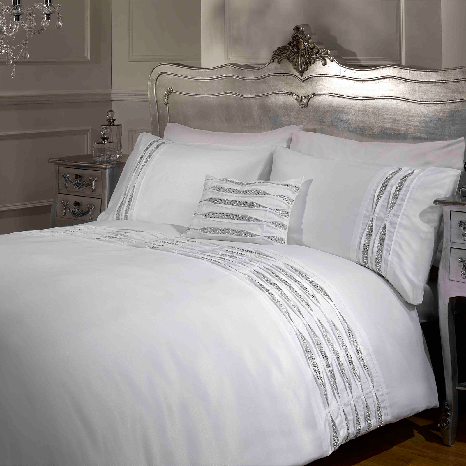 Pintuck Duvet: Luxury Crystal Diamante Duvet Cover
