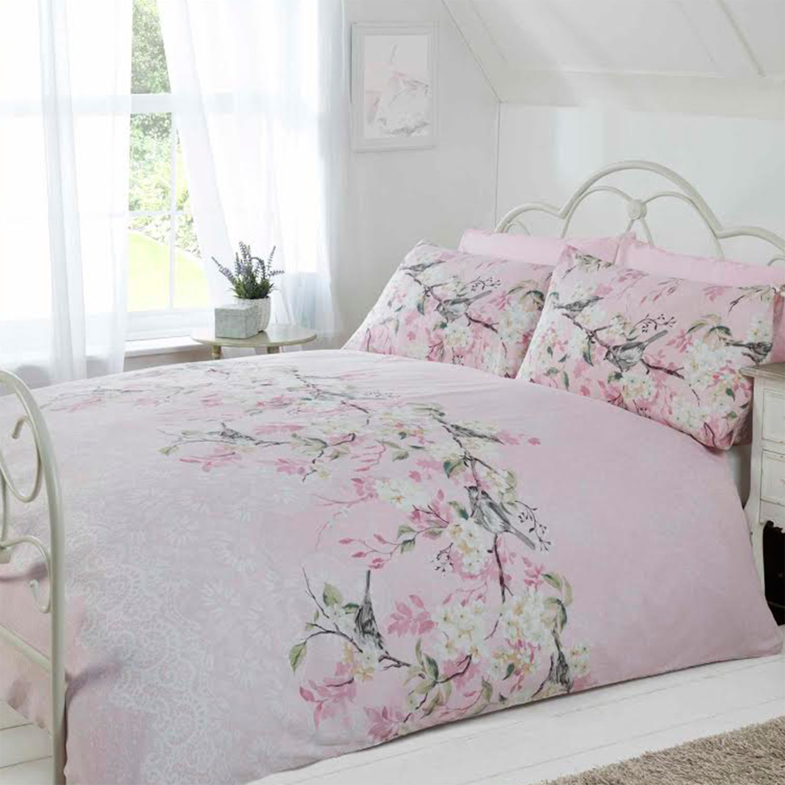 pretty soft duvet cover set with cherry blossom floral