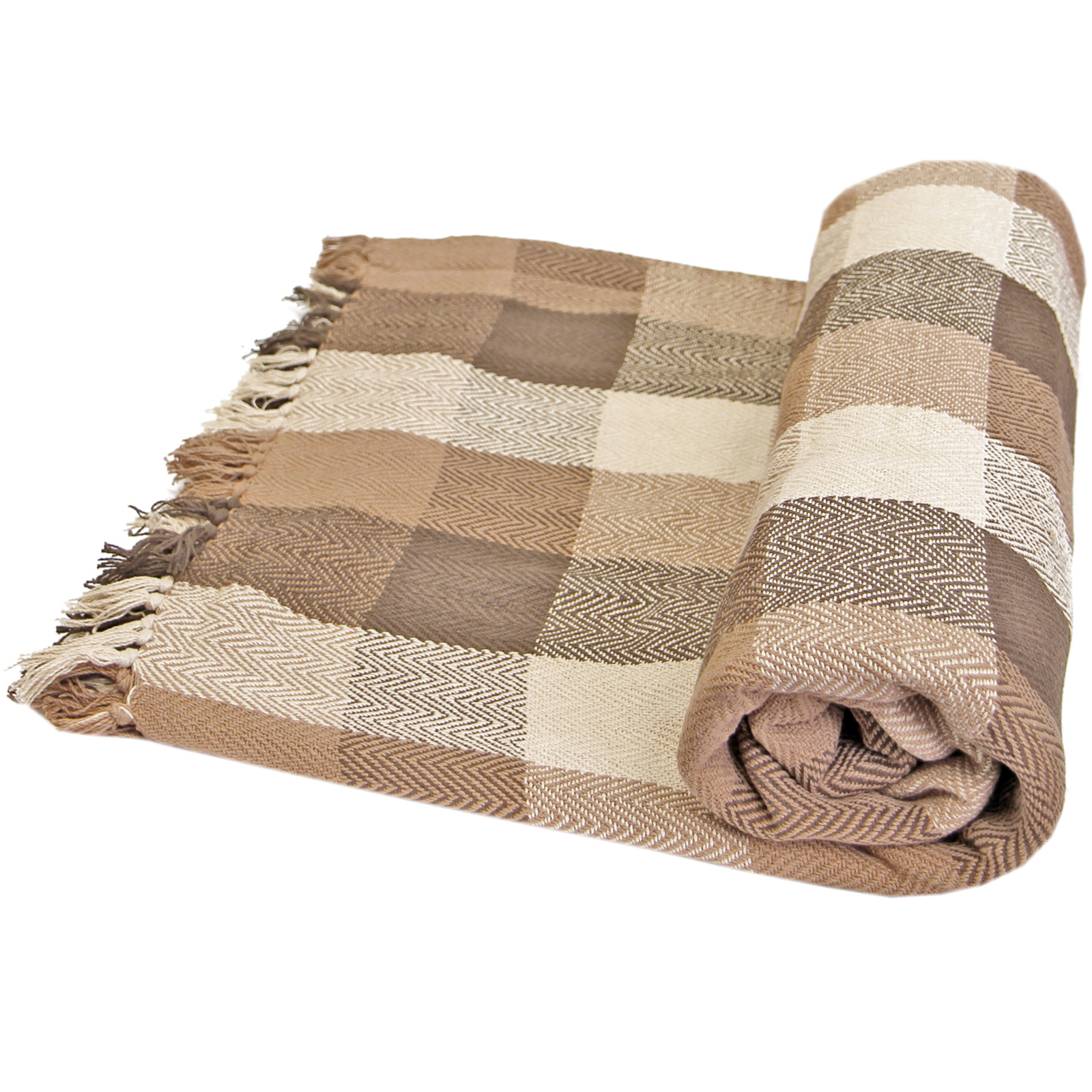 Luxury soft 100 cotton checked throws large thermal sofa for Soft blankets and throws